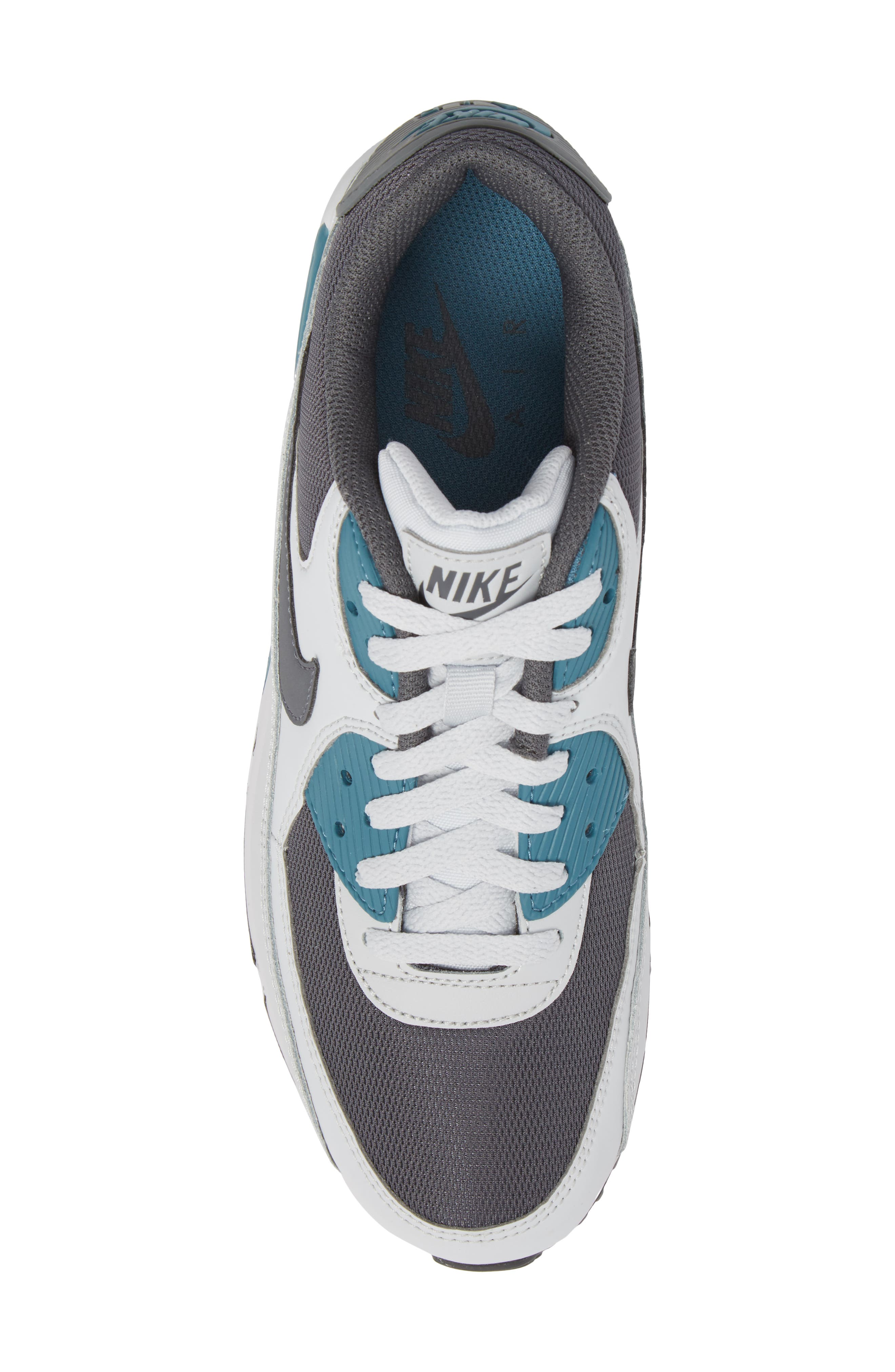 'Air Max 90 Essential' Sneaker,                             Alternate thumbnail 5, color,                             Pure Platinum/ Cool Grey/ Aqua