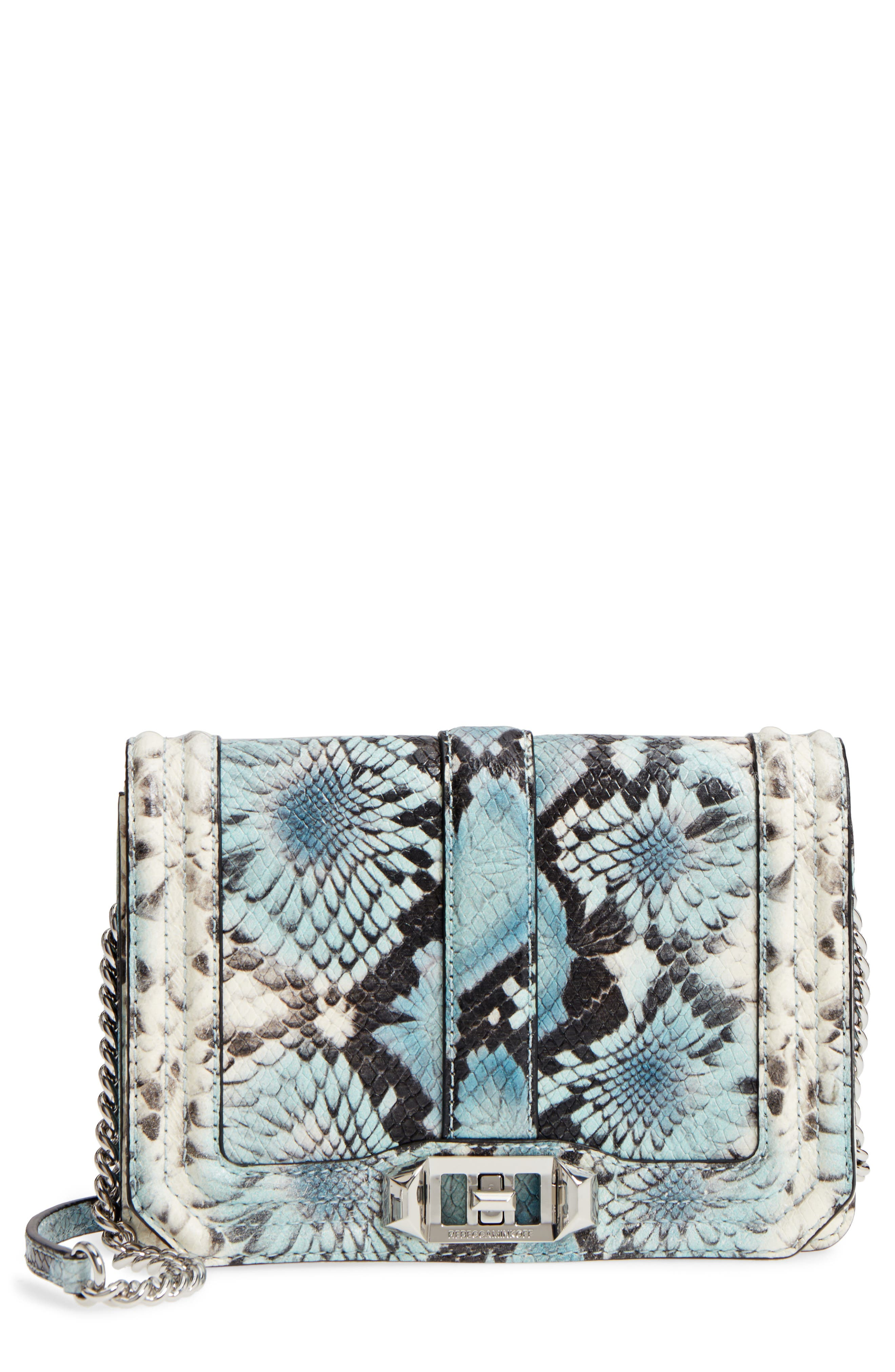 Small Love Snake Embossed Leather Crossbody Bag,                         Main,                         color, Blue Multi