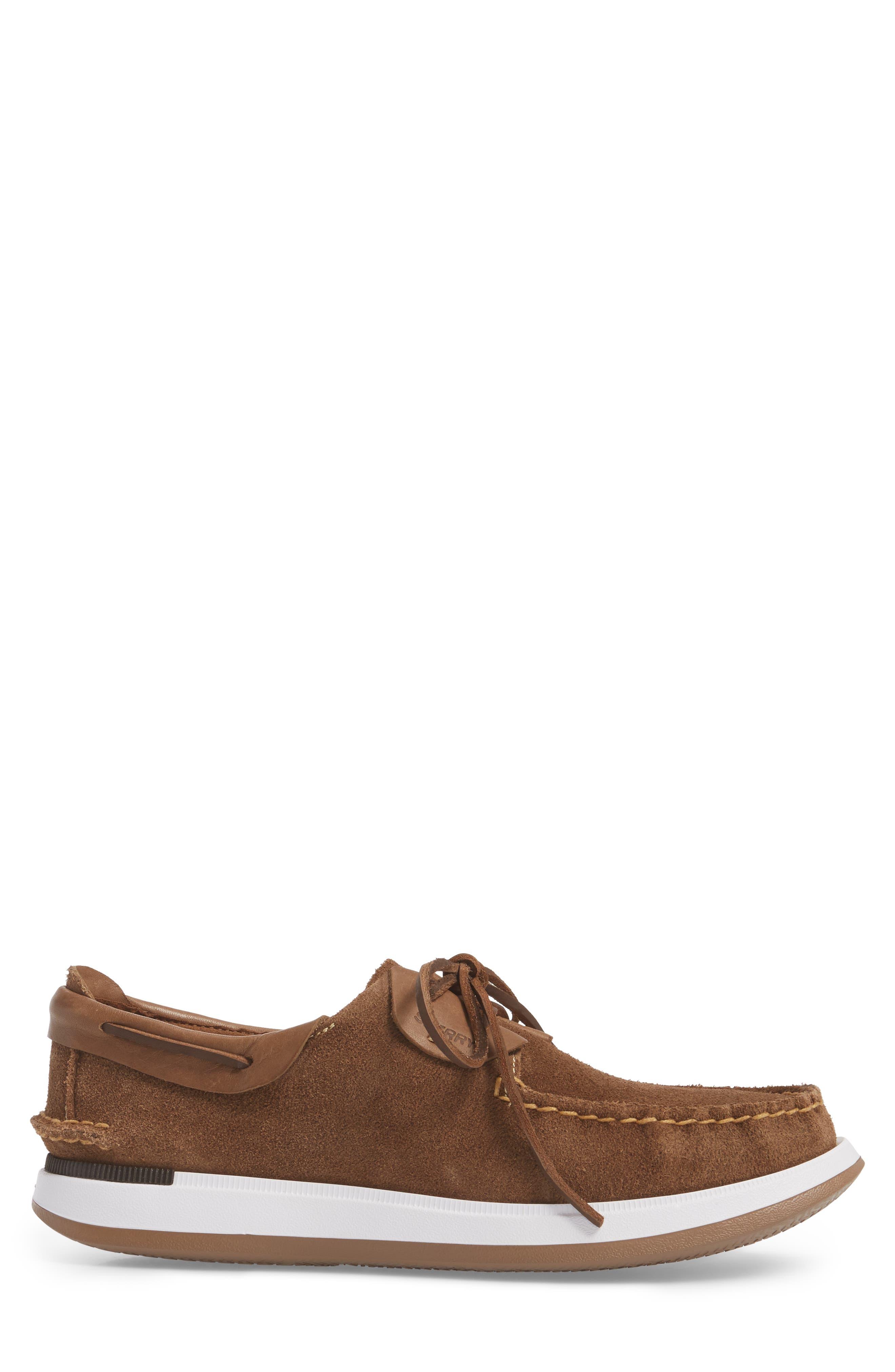 Caspian Boat Shoe,                             Alternate thumbnail 3, color,                             Tan Leather/ Suede