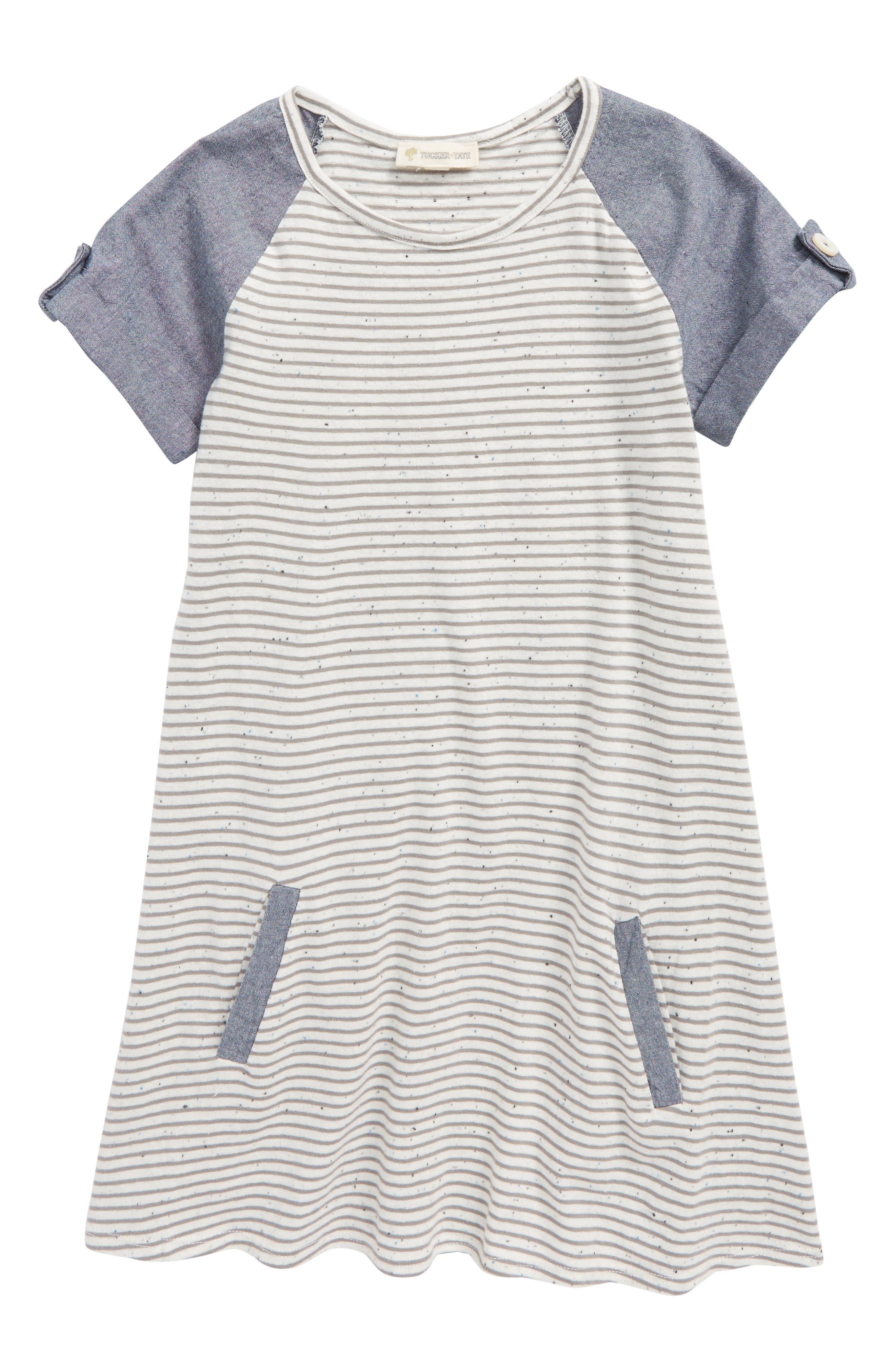 Mixed Media Dress,                         Main,                         color, Ivory Egret- Grey Stripe