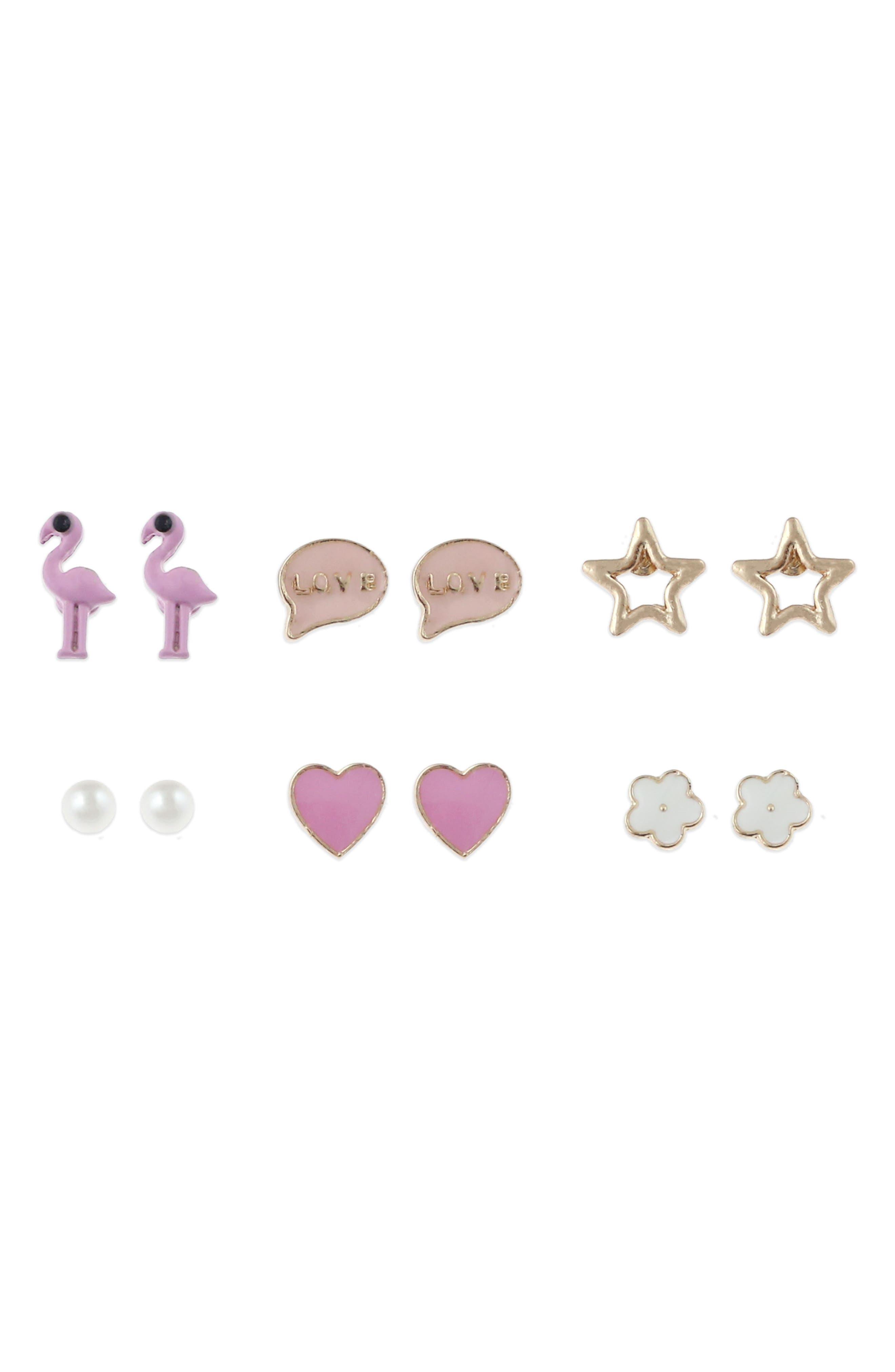 Capelli New York Flamingo 6-Pack Stud Earrings (Girls)