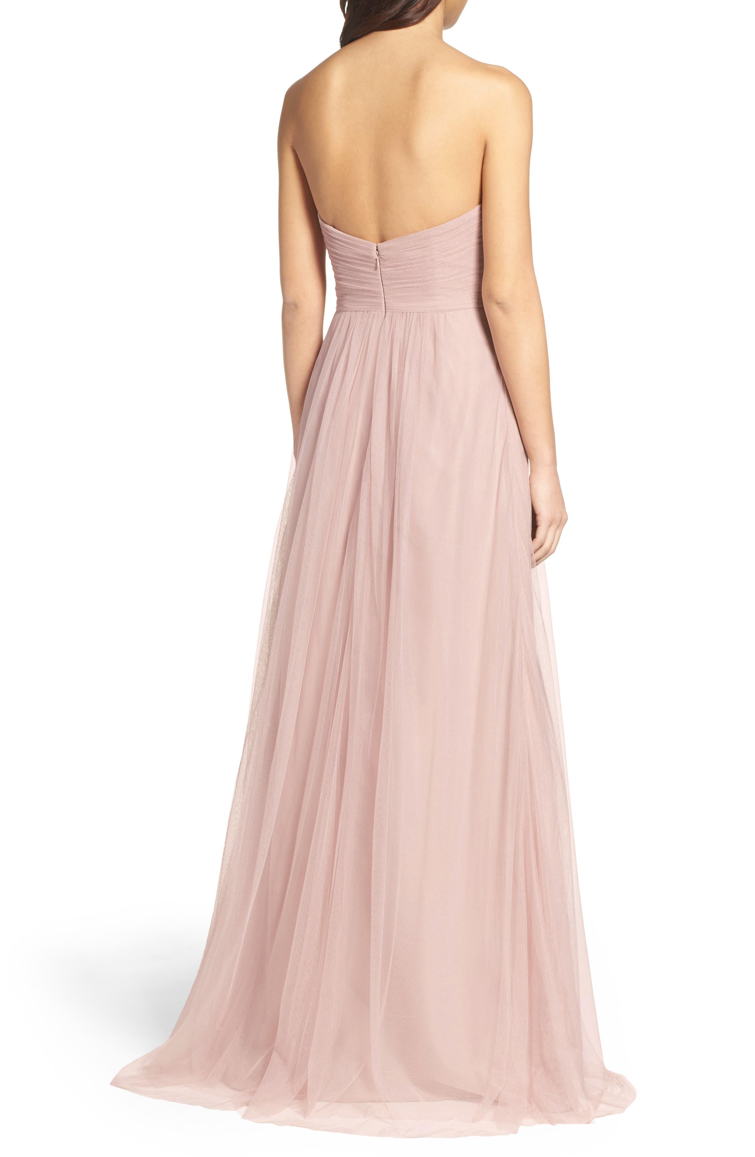 Strapless Tulle Gown,                             Alternate thumbnail 2, color,                             Latte