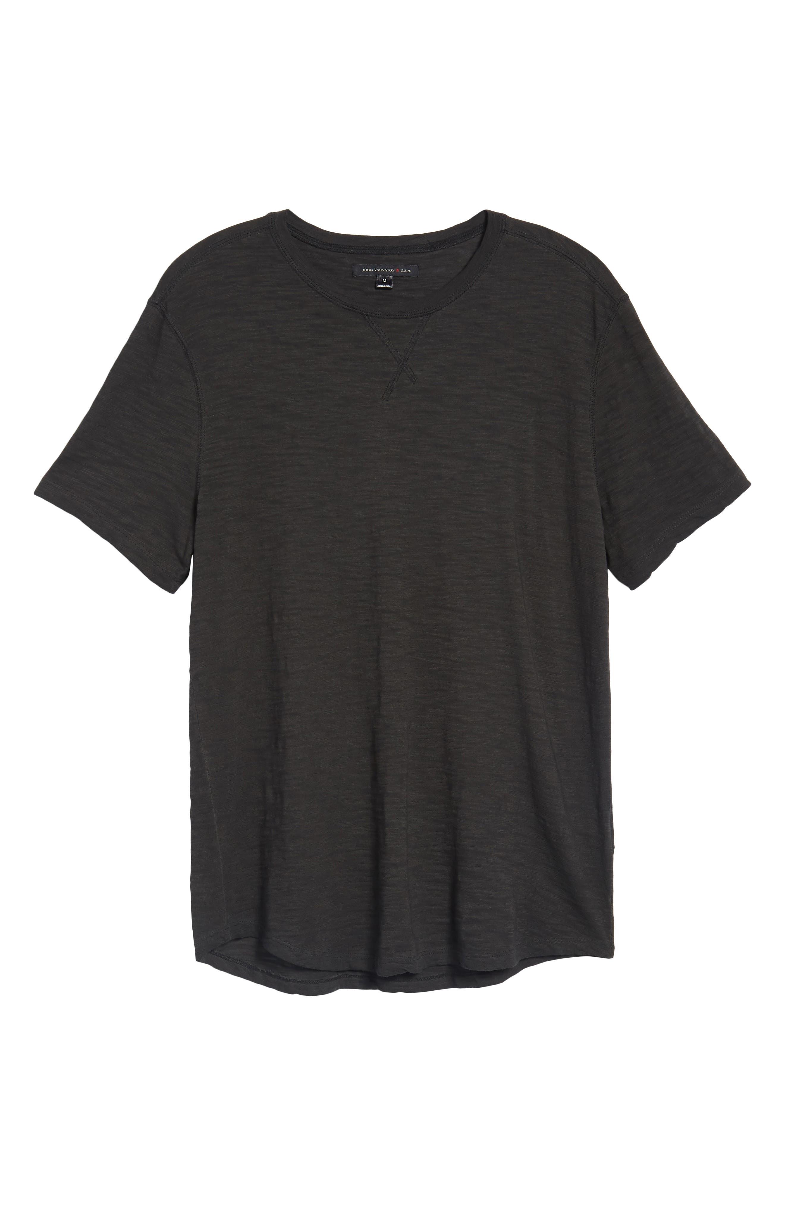 Slim Fit Slubbed T-Shirt,                             Alternate thumbnail 6, color,                             Black