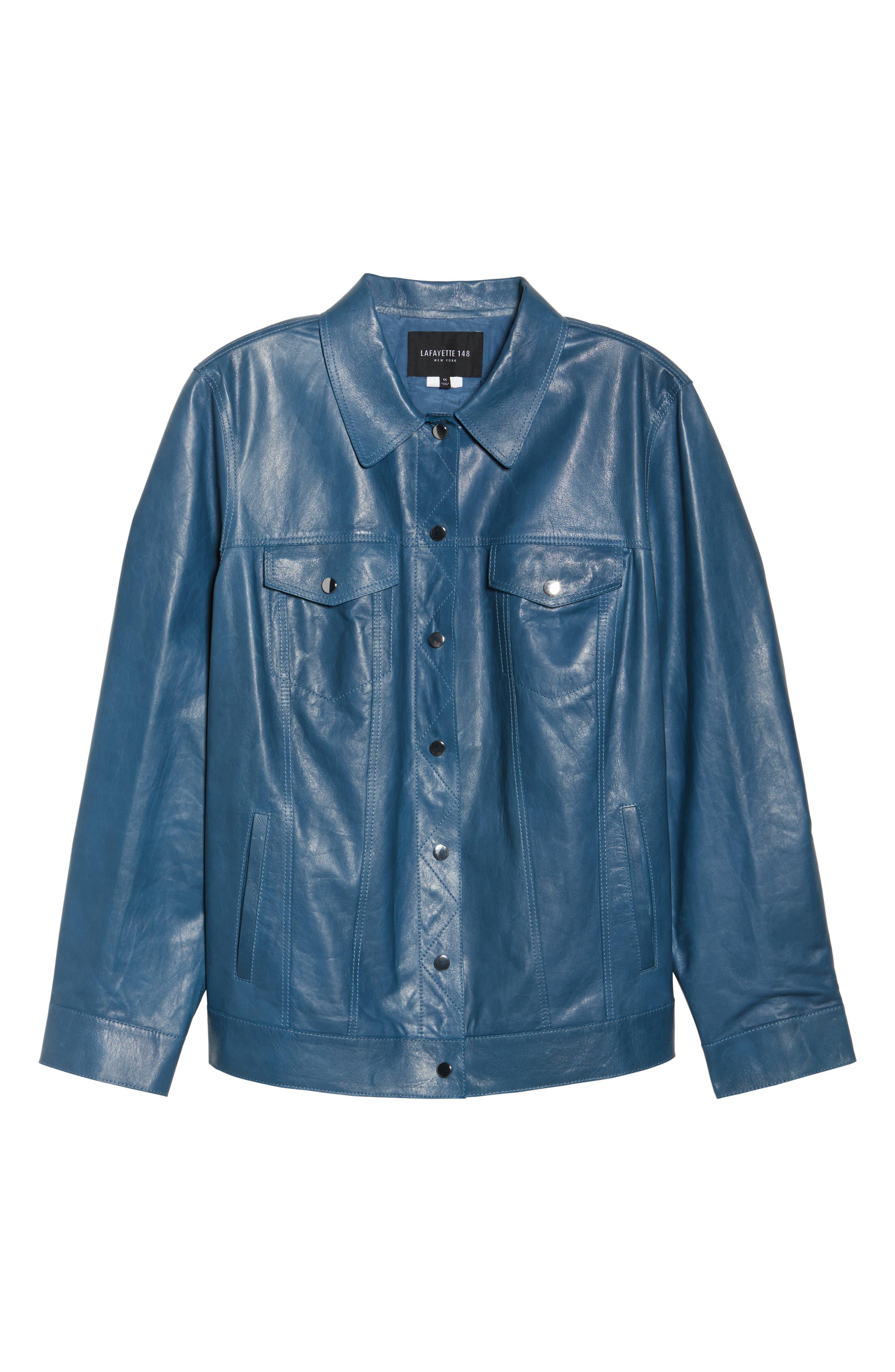 Destiny Leather Jacket,                             Alternate thumbnail 6, color,                             Placid Blue