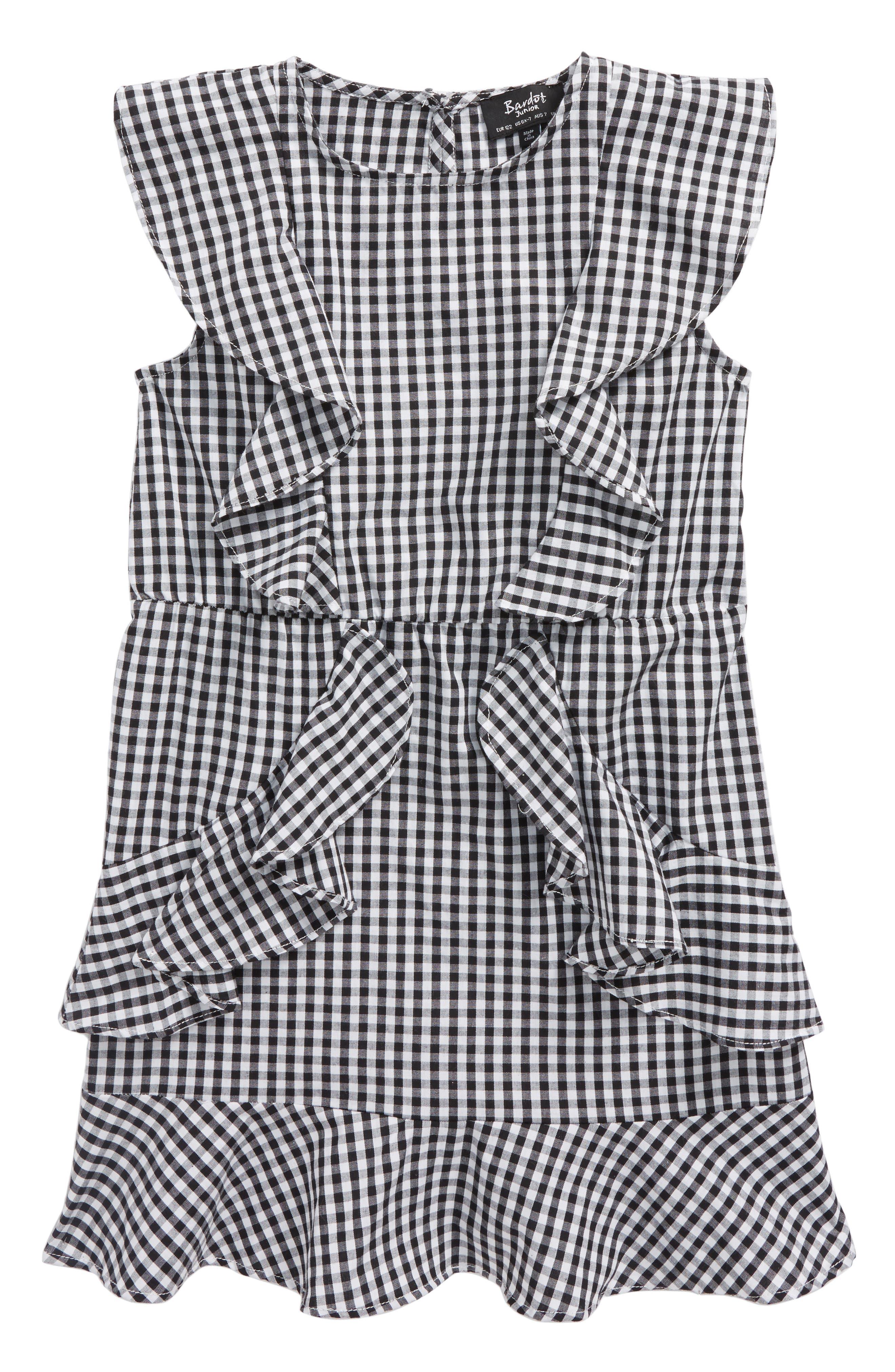 Gigi Gingham Dress,                             Main thumbnail 1, color,                             Black Gingham