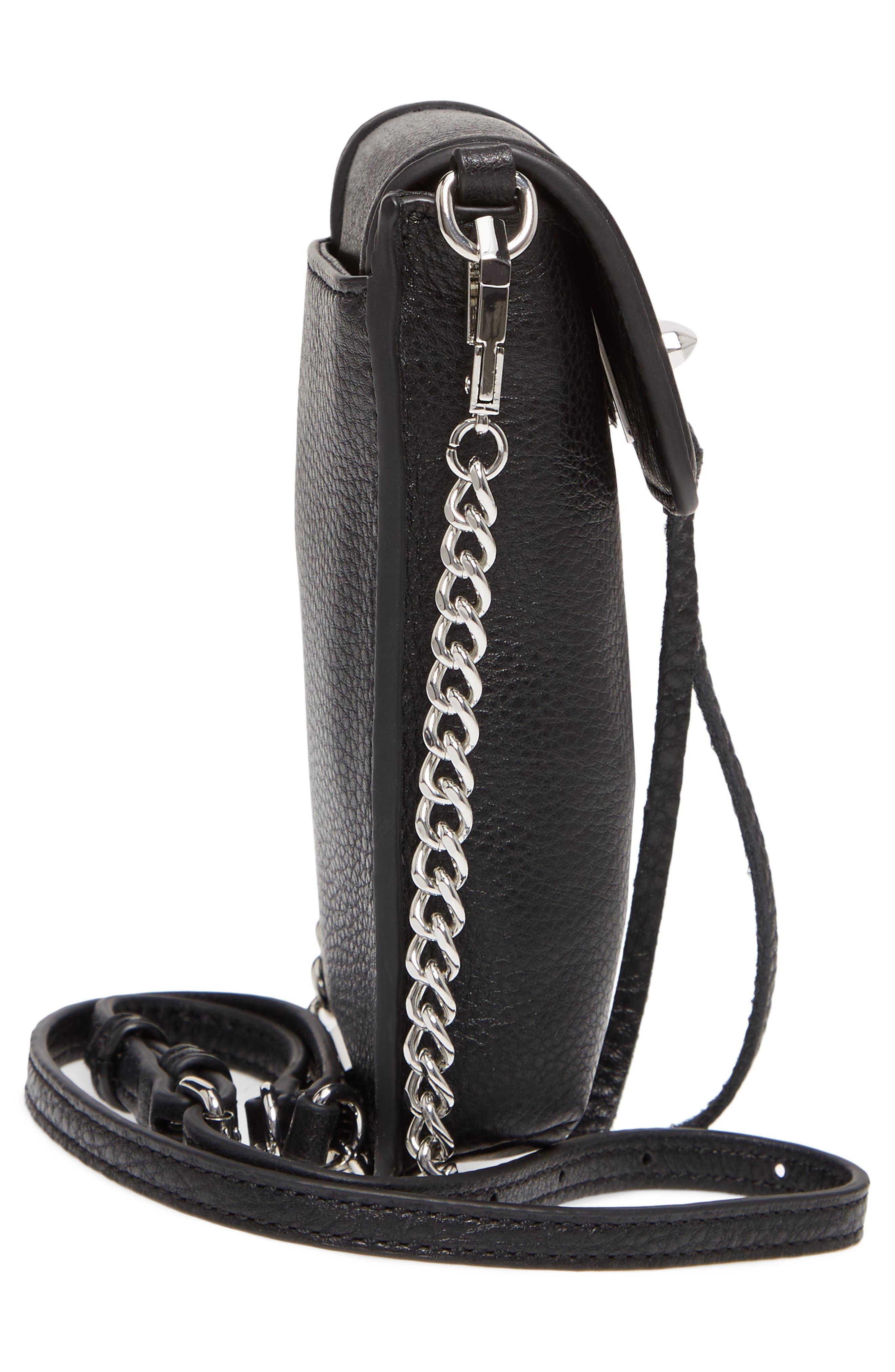 Darren Leather Phone Crossbody Bag,                             Alternate thumbnail 5, color,                             Black