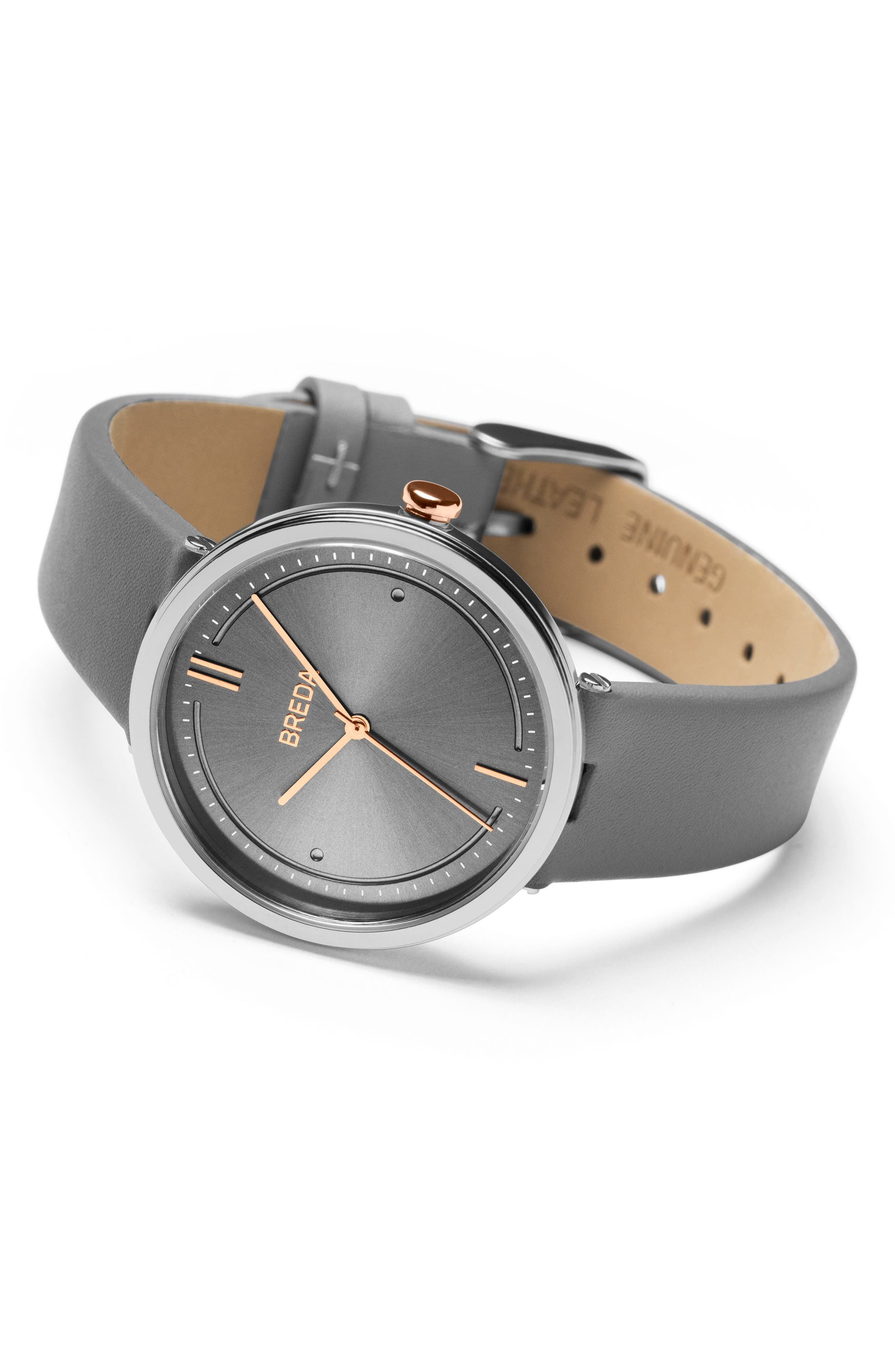 Agnes Leather Strap Watch, 34mm,                             Alternate thumbnail 2, color,                             Silver/ Grey