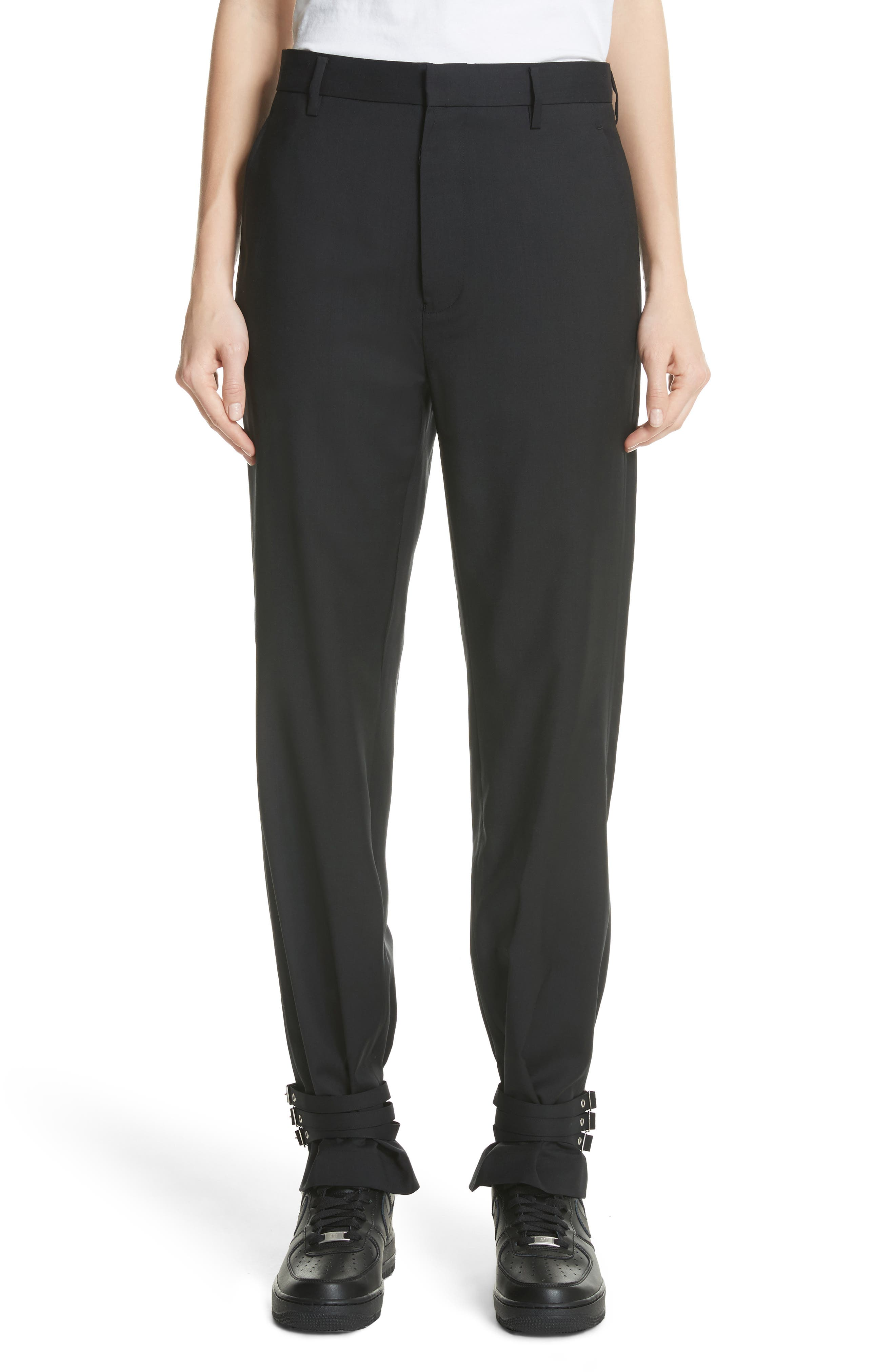 Adjustable Hem Wool & Silk Pants,                             Main thumbnail 1, color,                             Black