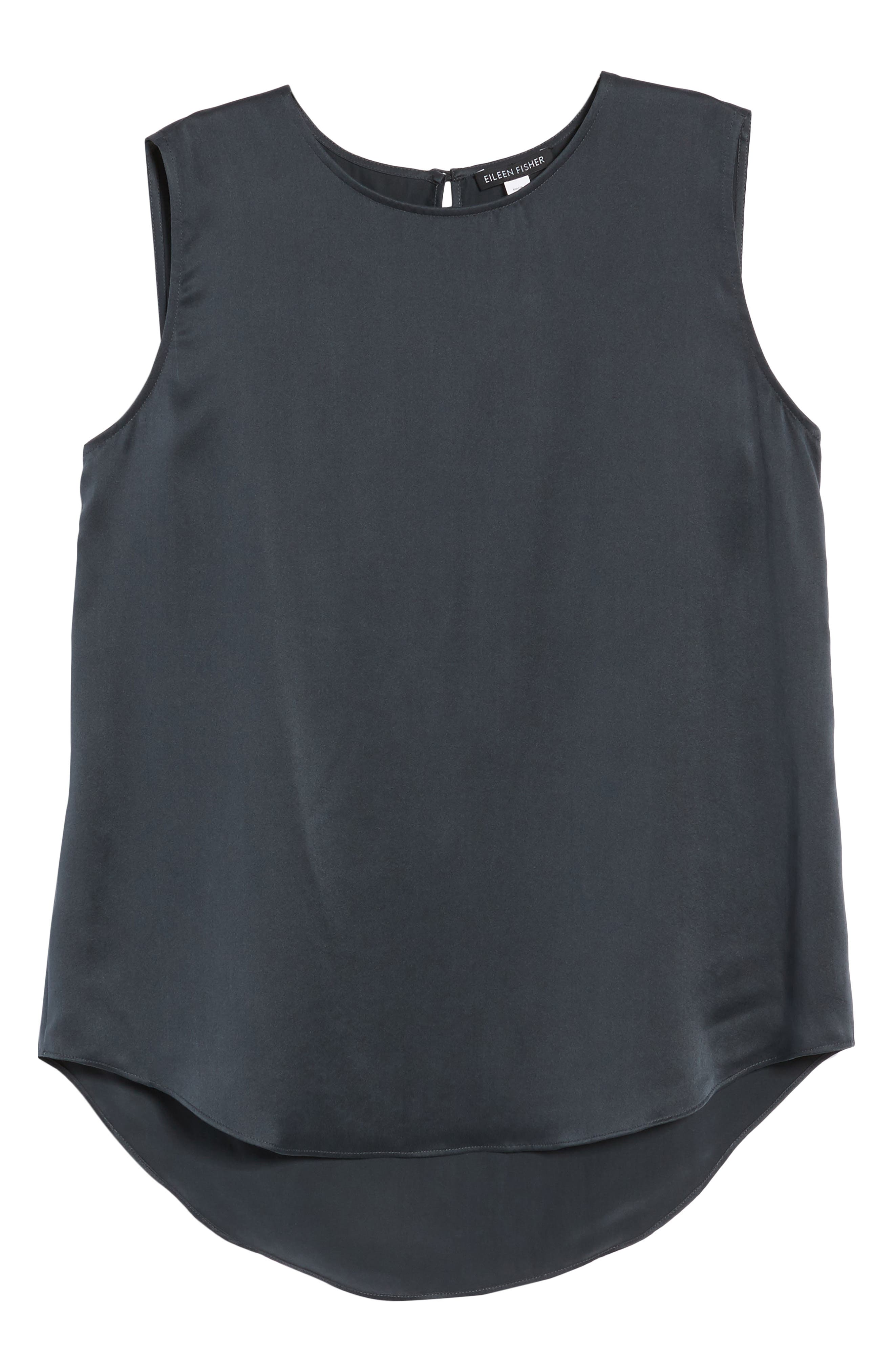 Round Neck Silk Tank,                             Alternate thumbnail 7, color,                             Graphite