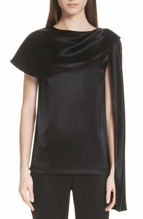 St. John Collection Attached Scarf Liquid Satin Top