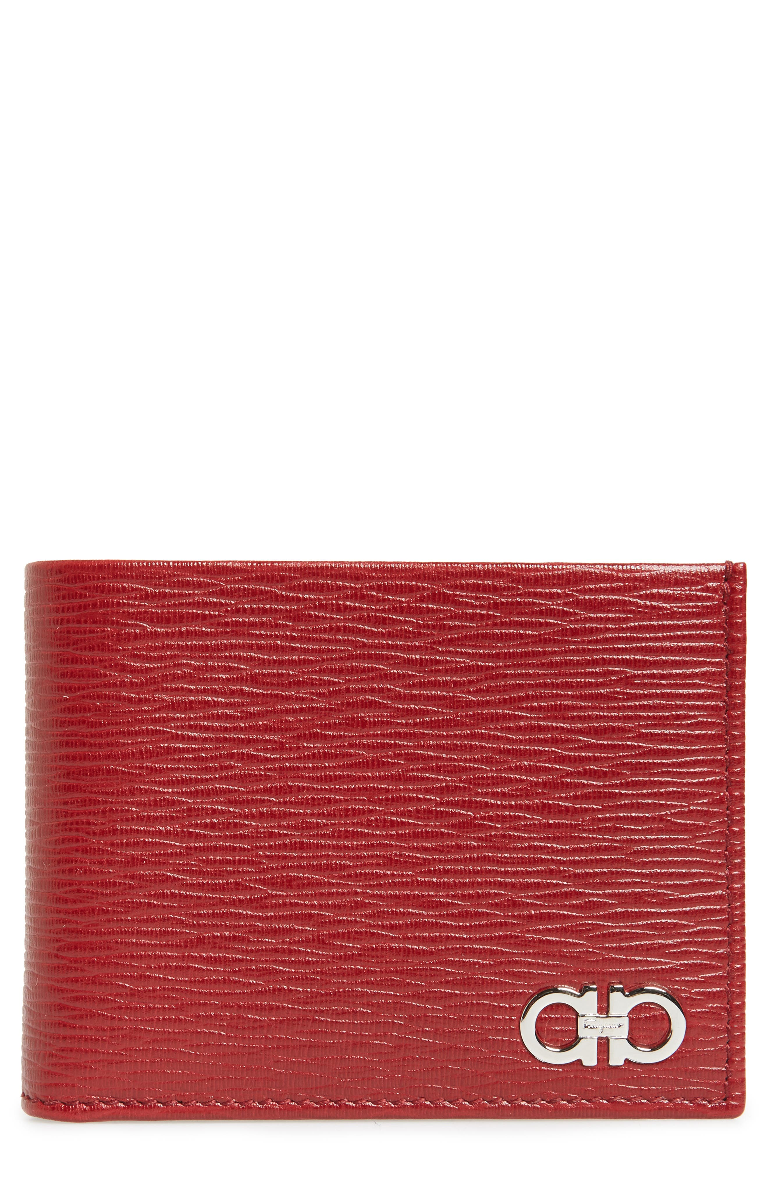 Revival Bifold Leather Wallet,                             Main thumbnail 1, color,                             Red
