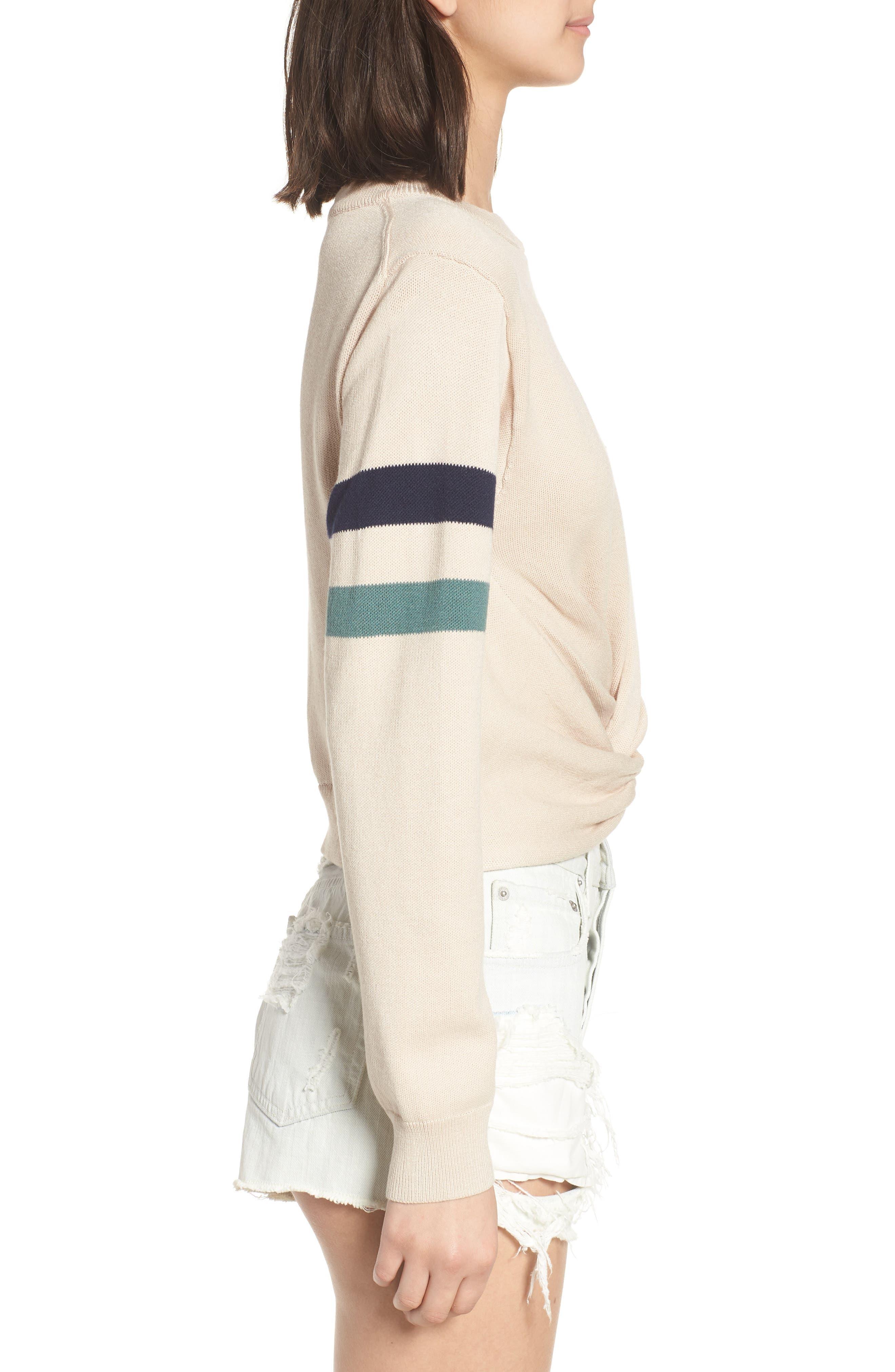 Twist Front Stripe Sleeve Sweatshirt,                             Alternate thumbnail 3, color,                             Ivory
