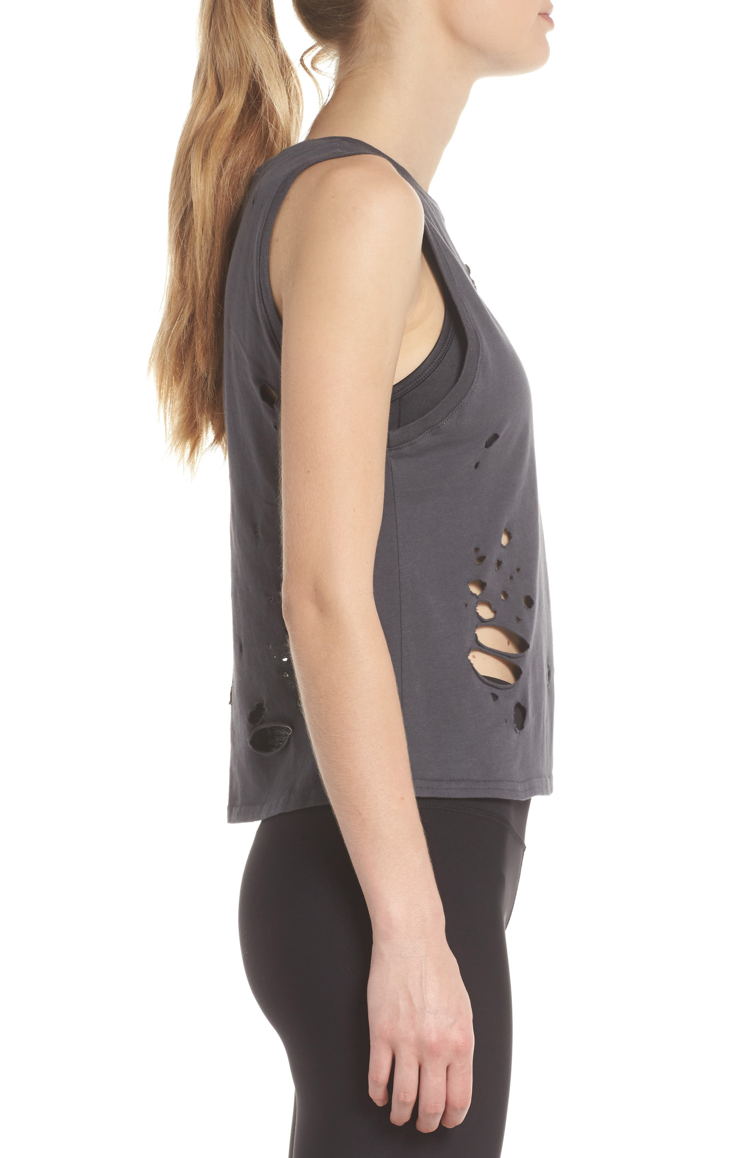 Harley Muscle Tank,                             Alternate thumbnail 3, color,                             Anthracite/ Distressed Holes