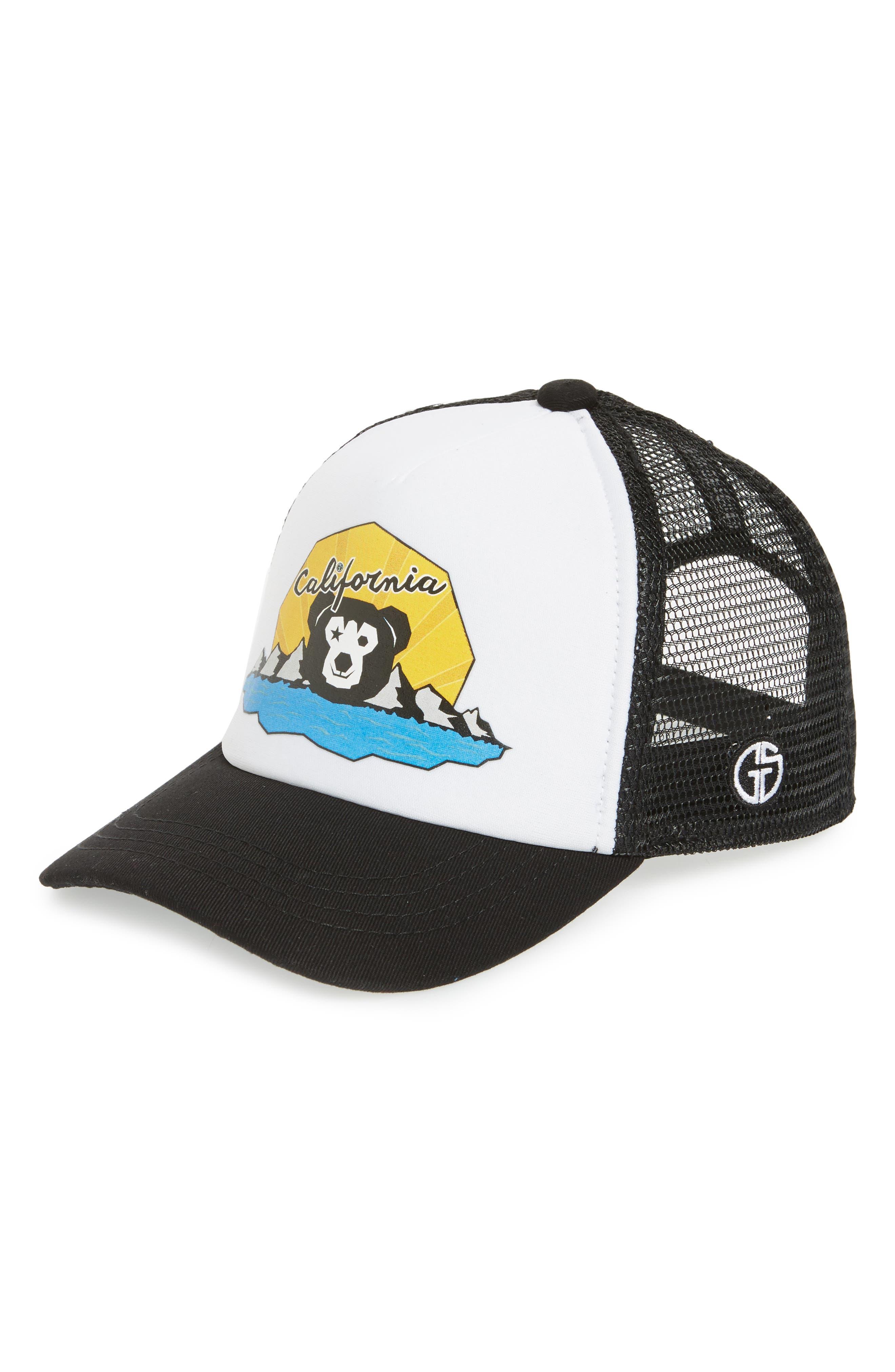 Cali Bear Trucker Hat,                         Main,                         color, Black/ White