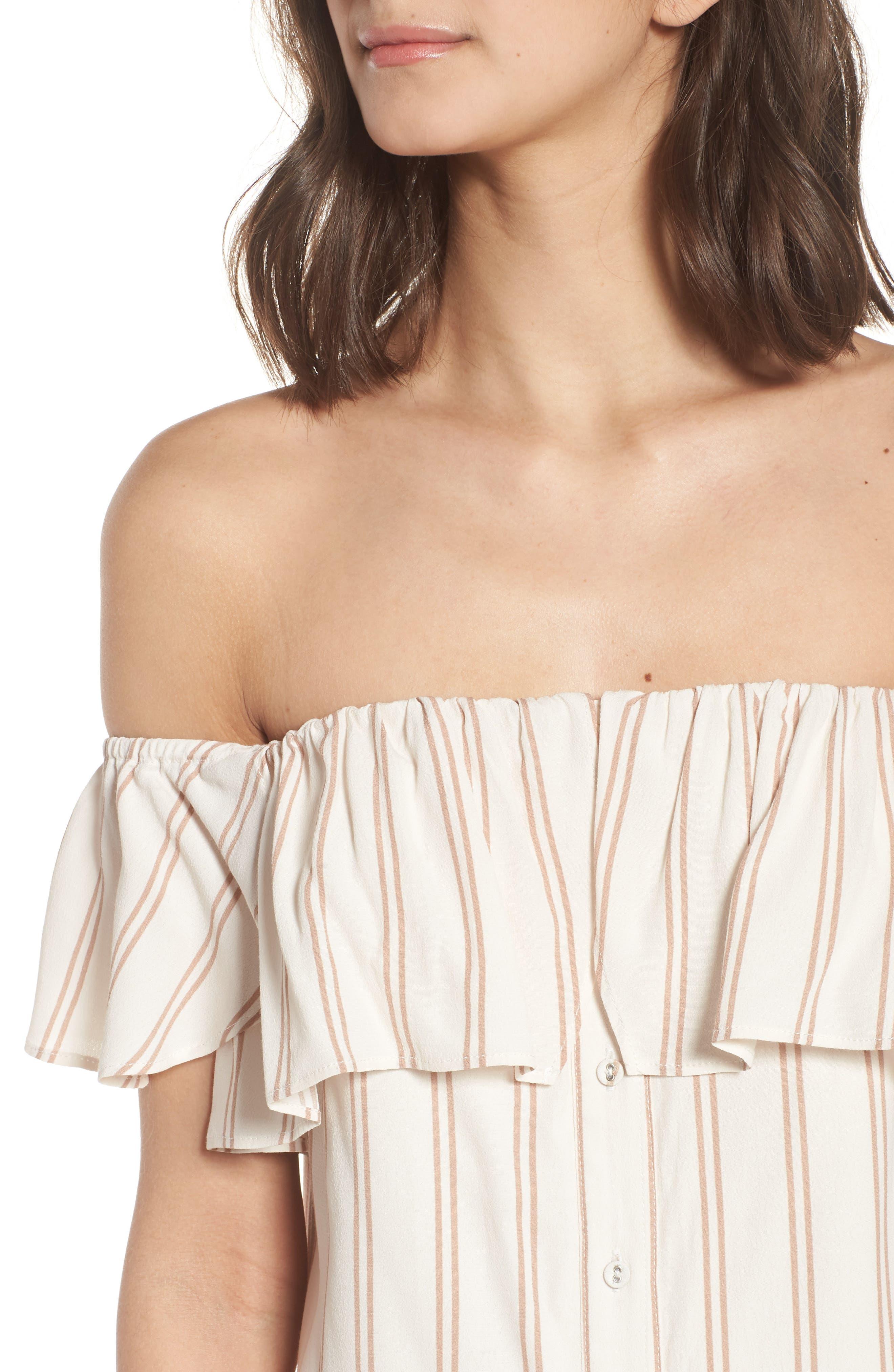 Stripe Off the Shoulder Dress,                             Alternate thumbnail 4, color,                             Ivory Egret Emily Stripe