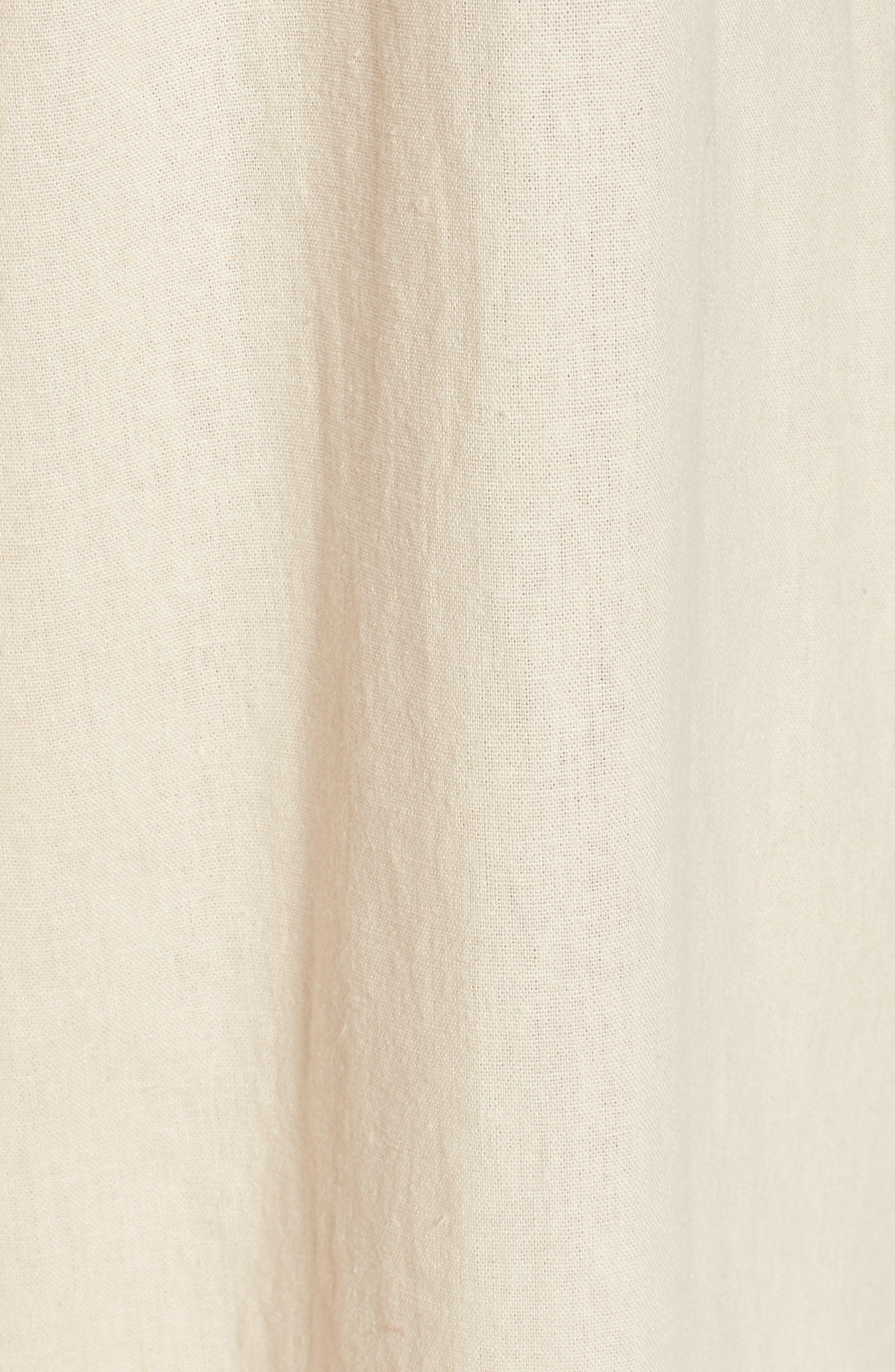 Linen Blend Tie Front Crop Jumpsuit,                             Alternate thumbnail 5, color,                             Beige Beach