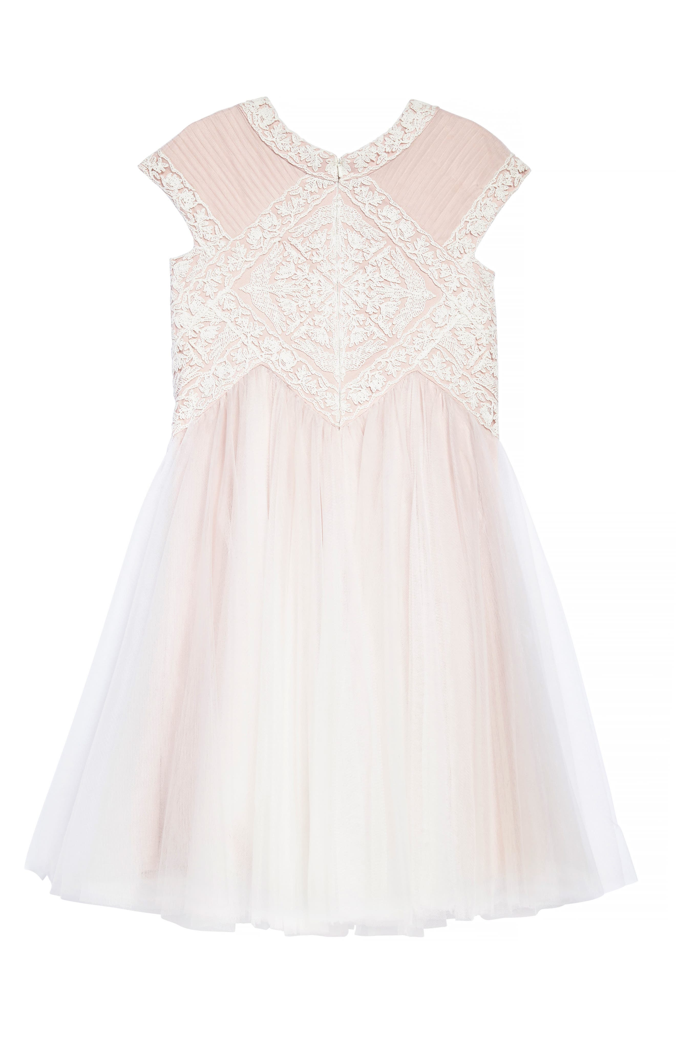 Lace Tulle Dress,                             Alternate thumbnail 2, color,                             Ivory/ Primrose