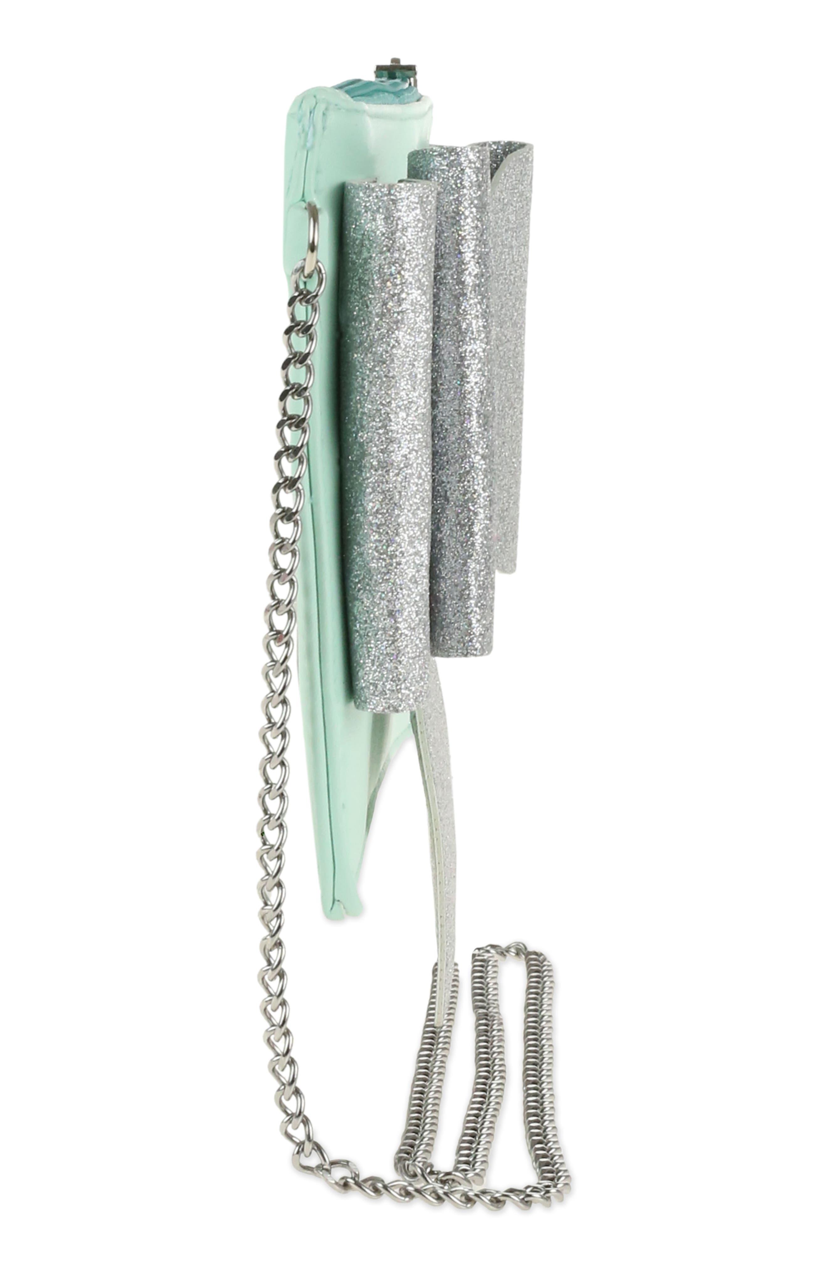 Glitter Bow Crossbody Bag,                             Alternate thumbnail 4, color,                             Mint