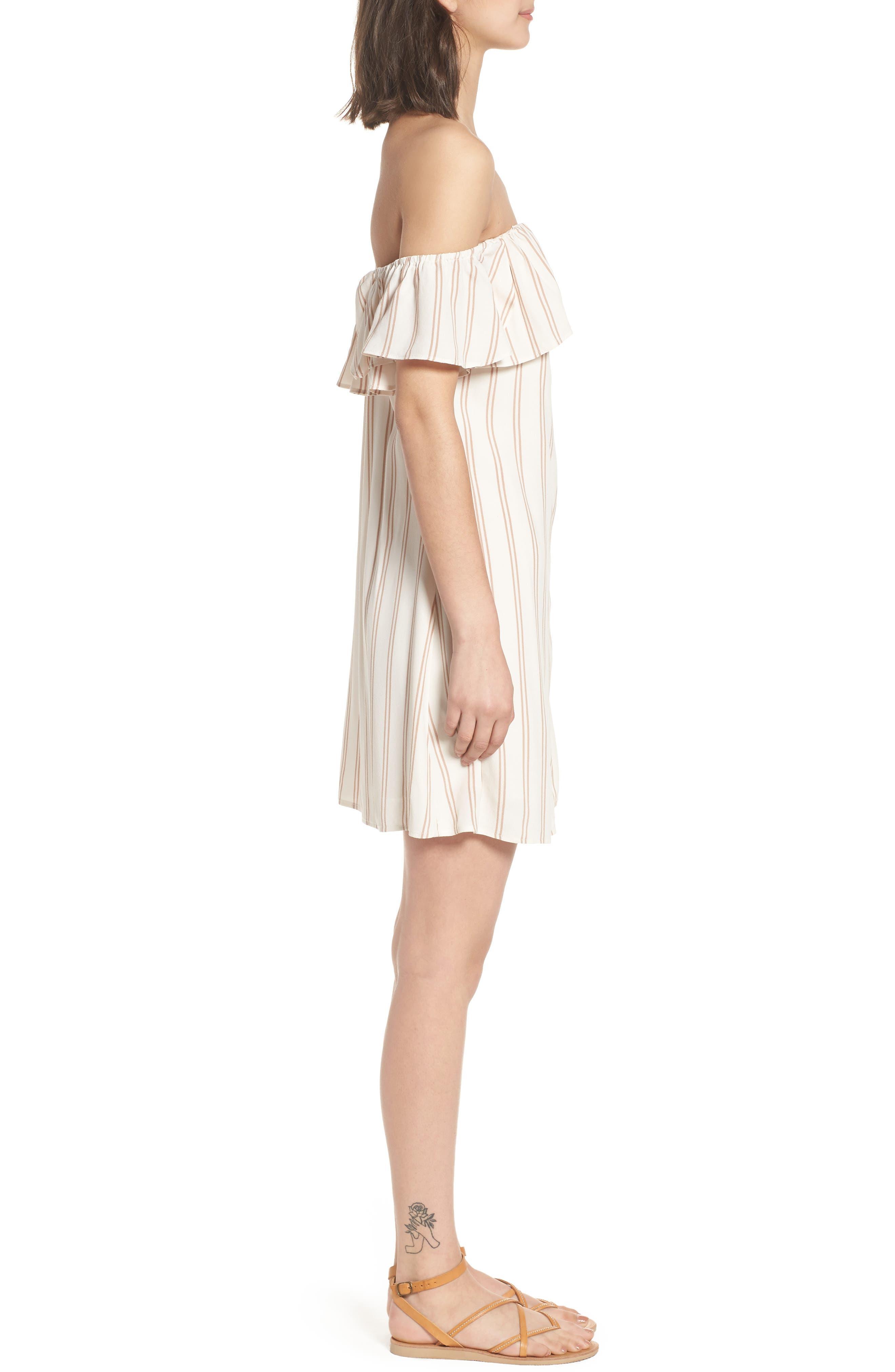 Stripe Off the Shoulder Dress,                             Alternate thumbnail 3, color,                             Ivory Egret Emily Stripe
