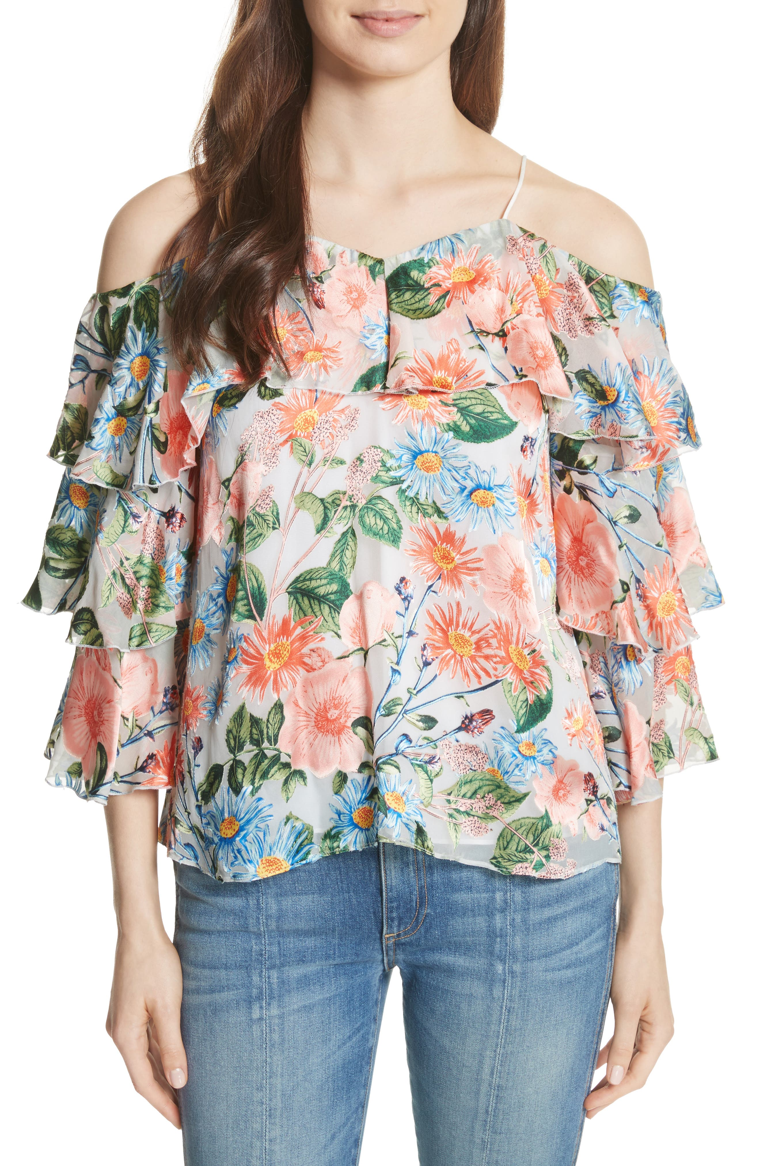 Marylee Floral Off the Shoulder Blouse,                             Main thumbnail 1, color,                             Floral Fields