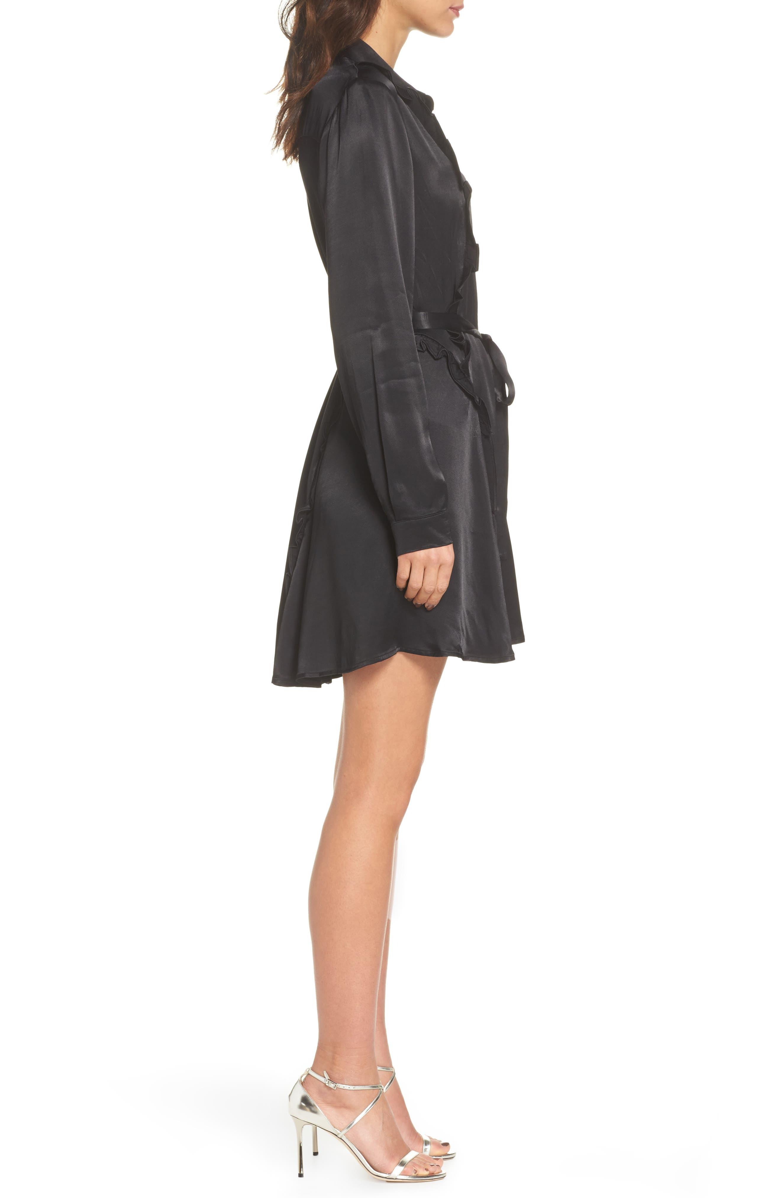 Cassia Ruffle Trim Shirtdress,                             Alternate thumbnail 3, color,                             Black