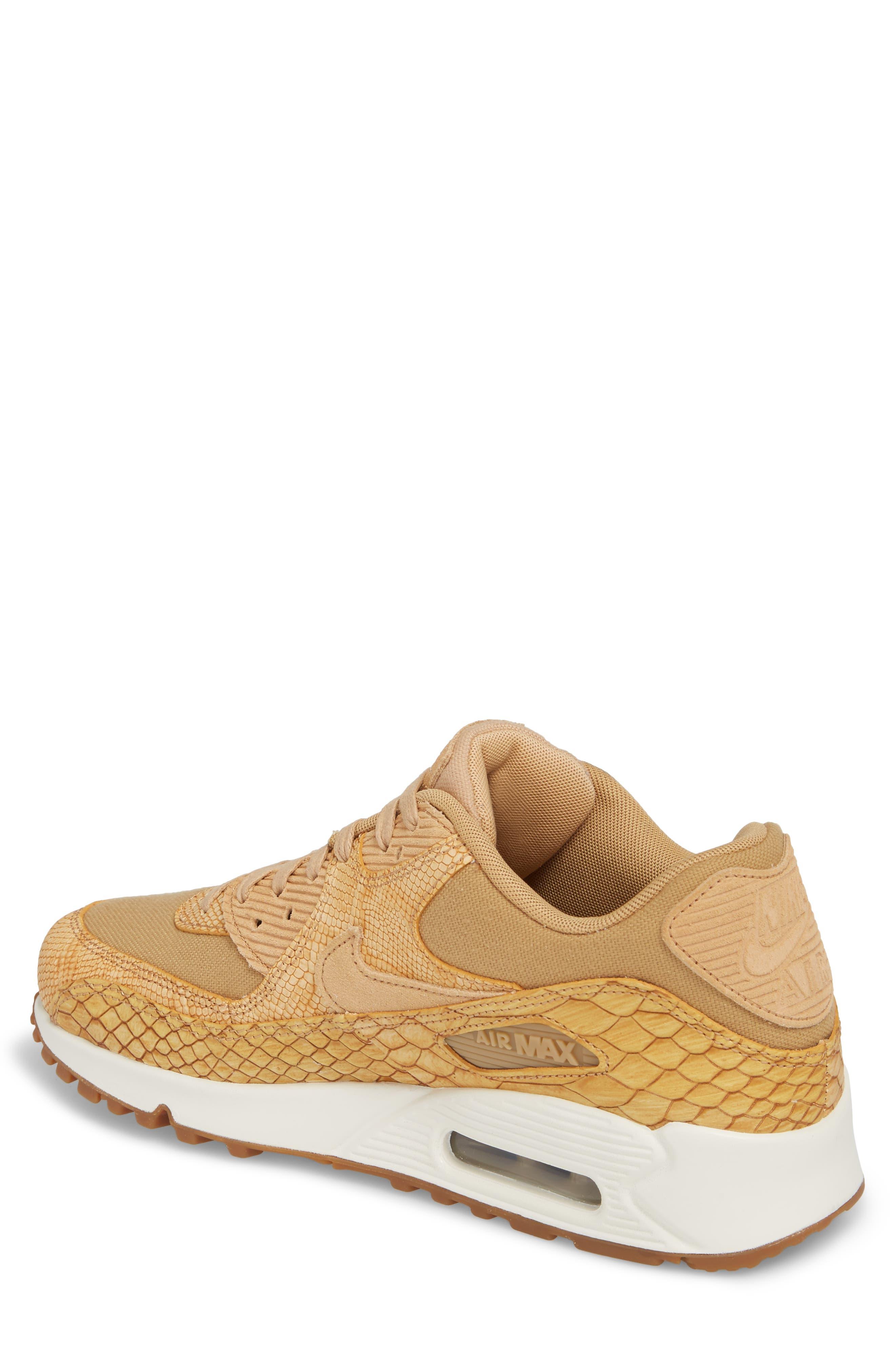 Air Max 90 Premium Sneaker,                             Alternate thumbnail 2, color,                             Tan/ Tan/ Elemental Gold