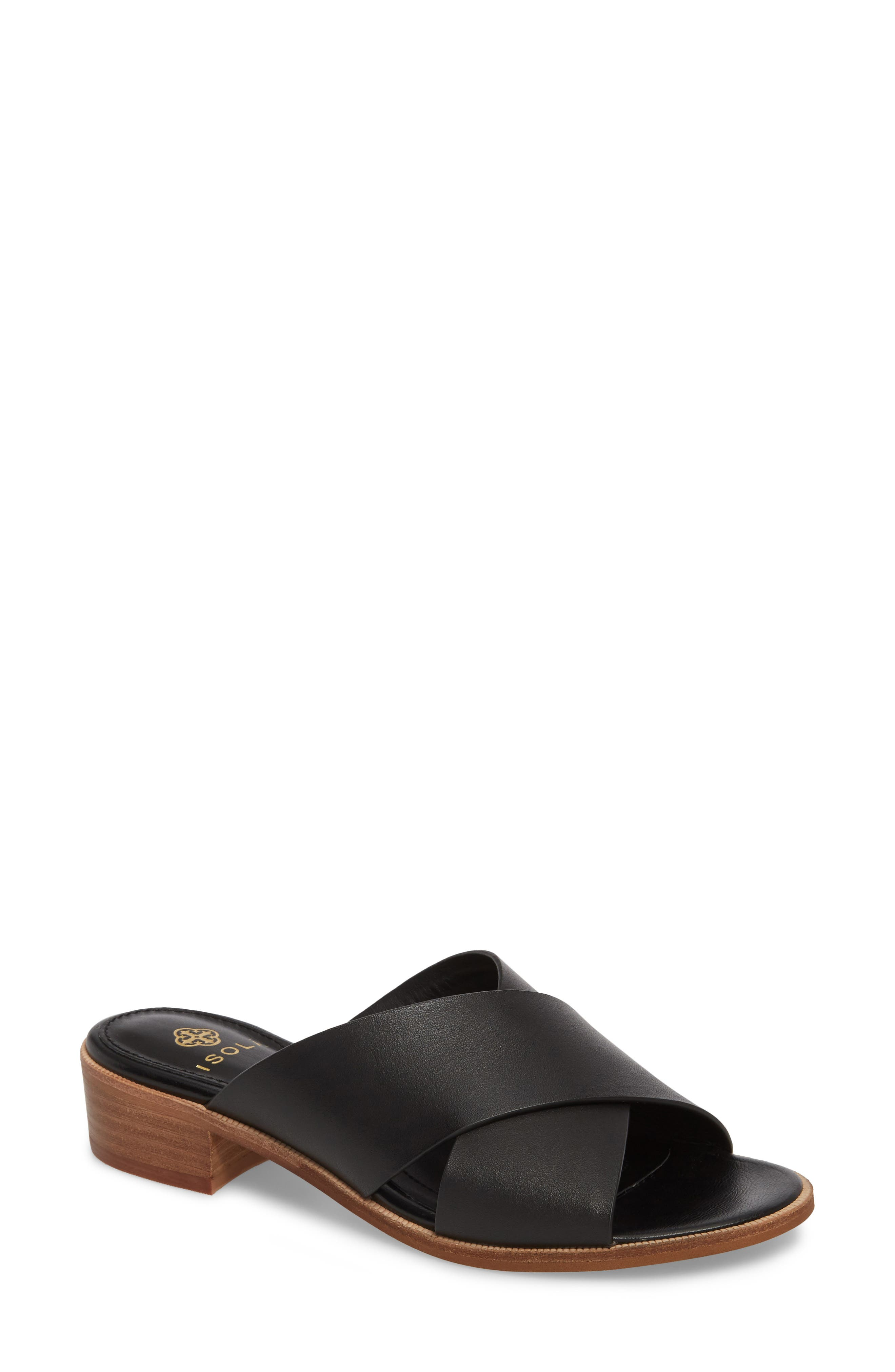 Isola Ginata Slide Sandal,                             Main thumbnail 1, color,                             Black Leather