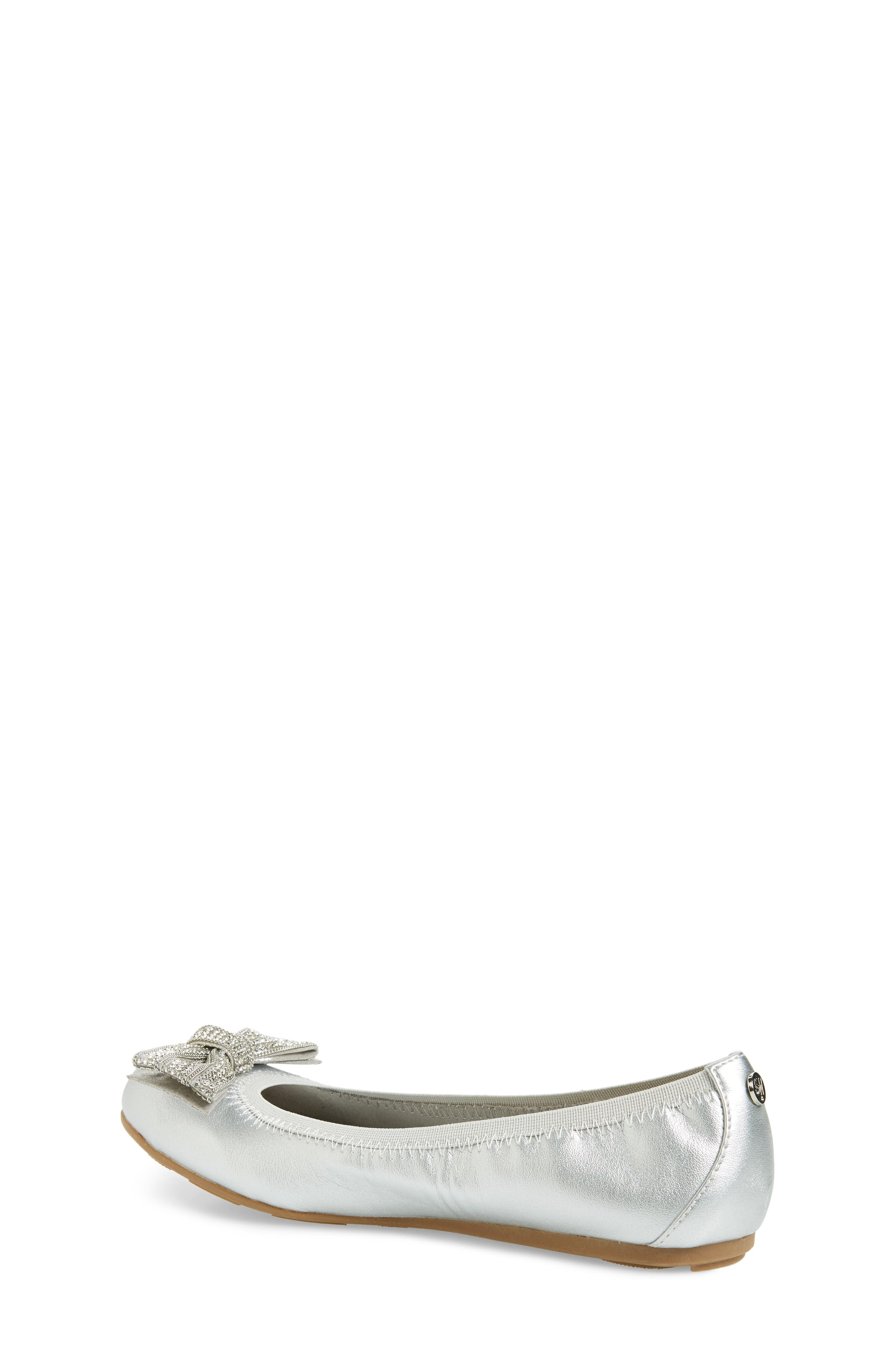Fannie Embellished Bow Ballet Flat,                             Alternate thumbnail 2, color,                             Silver