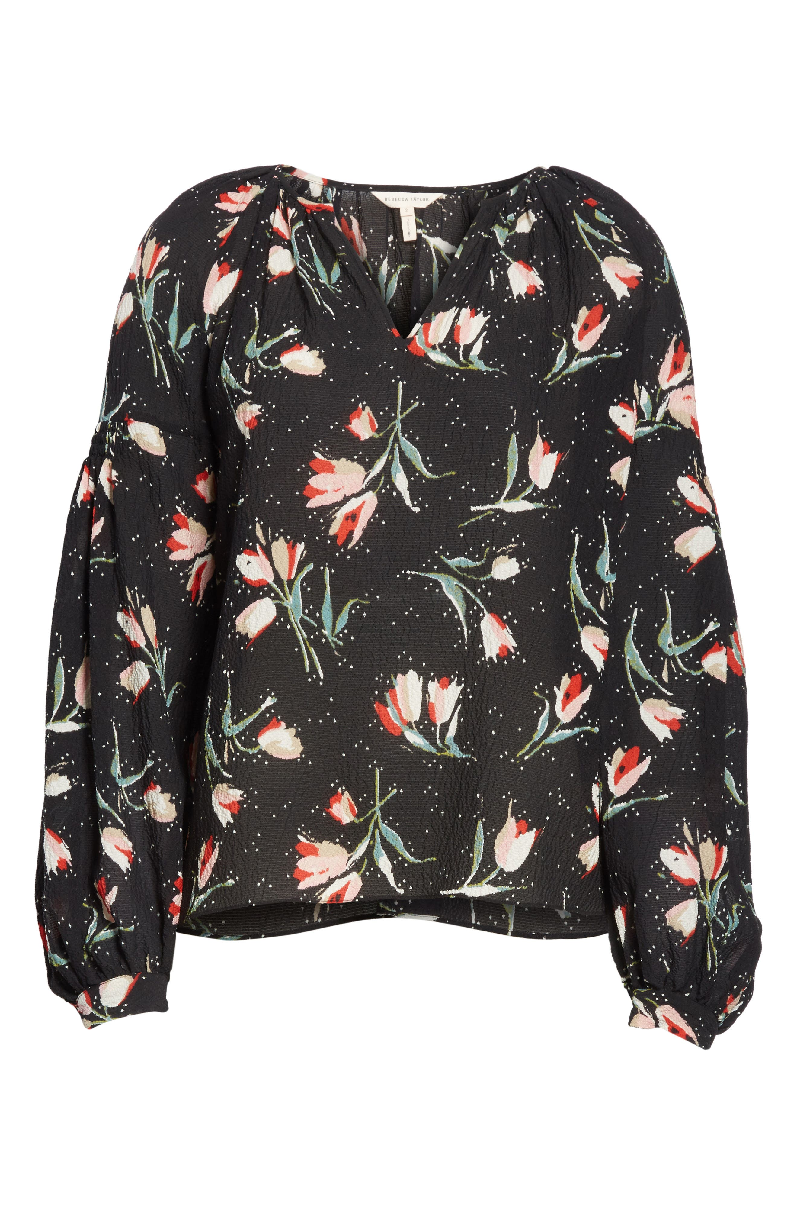 Stretch Silk Floral Top,                             Alternate thumbnail 6, color,                             Black Combo