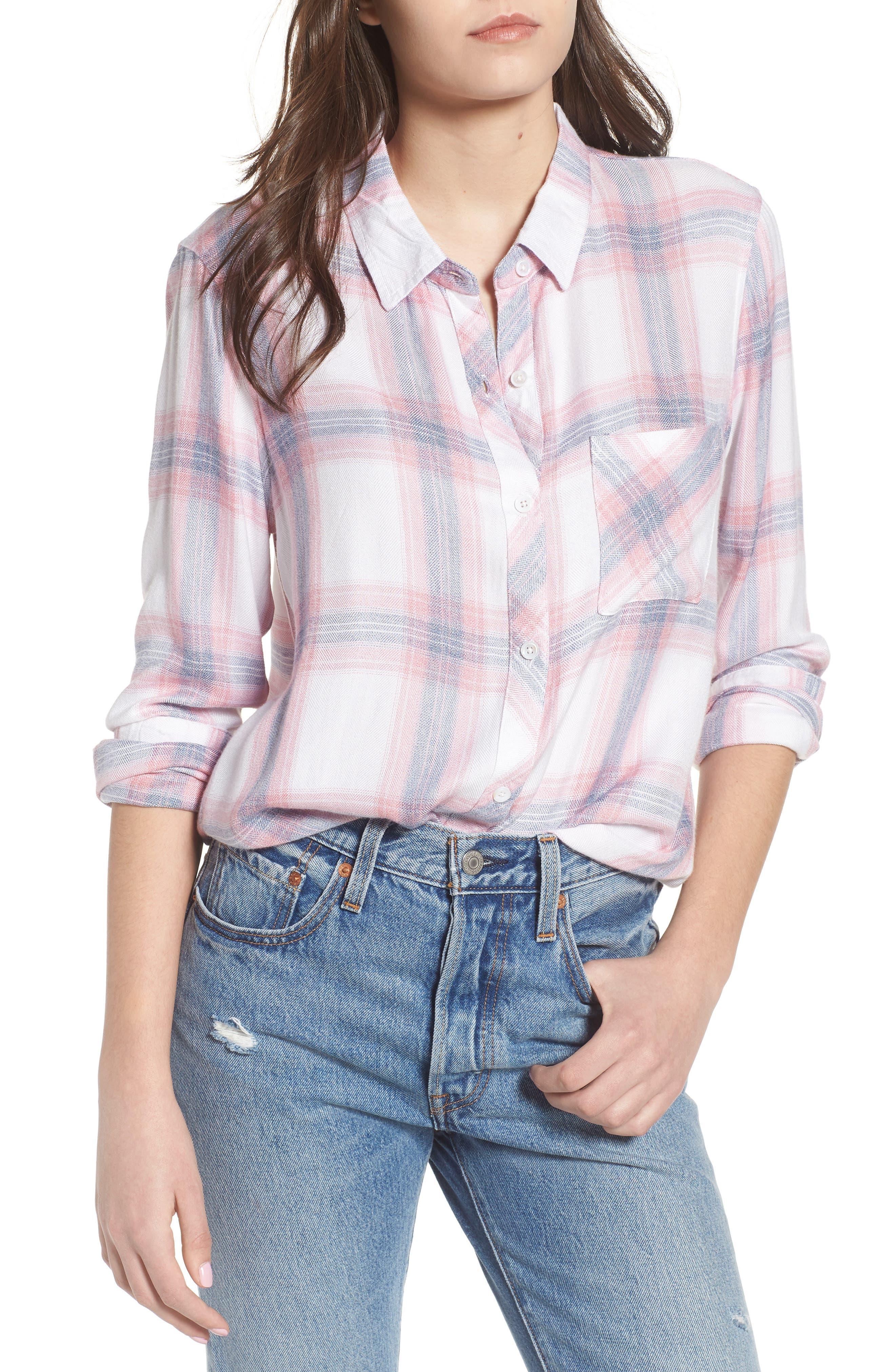 Carina Plaid Shirt,                             Main thumbnail 1, color,                             Red/ White Plaid