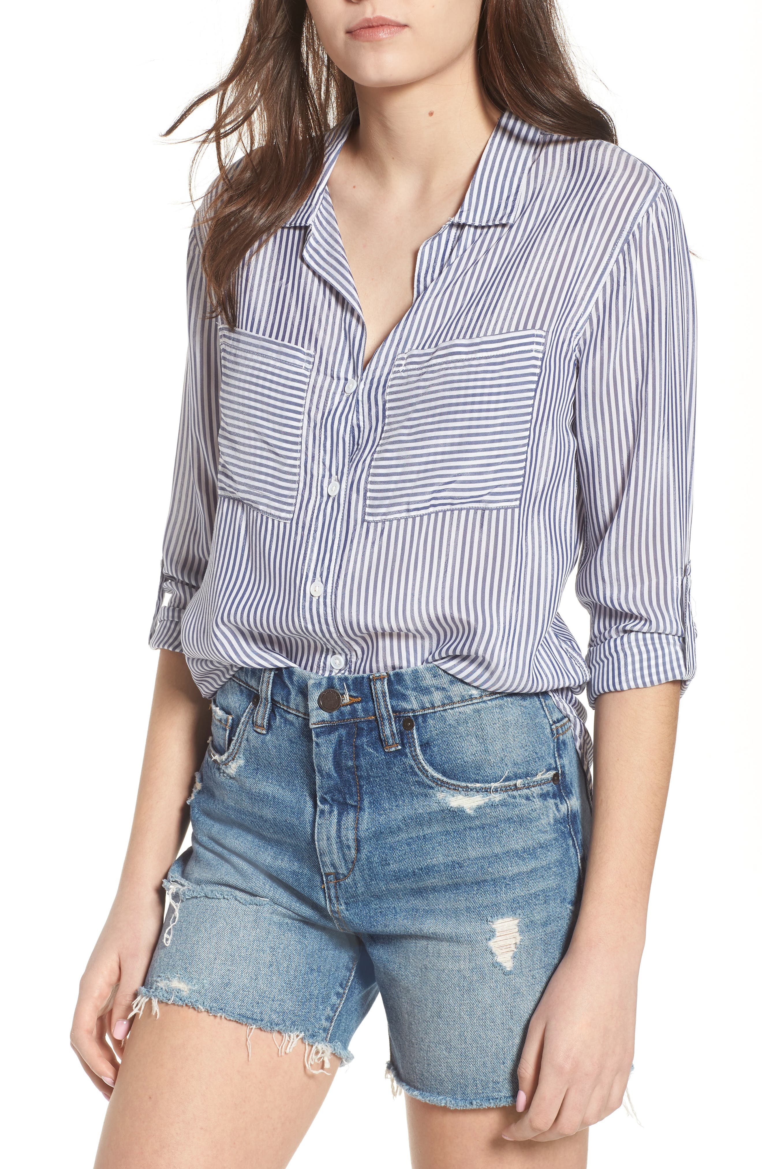 Zinc Stripe Shirt,                             Main thumbnail 1, color,                             Blue Stripe