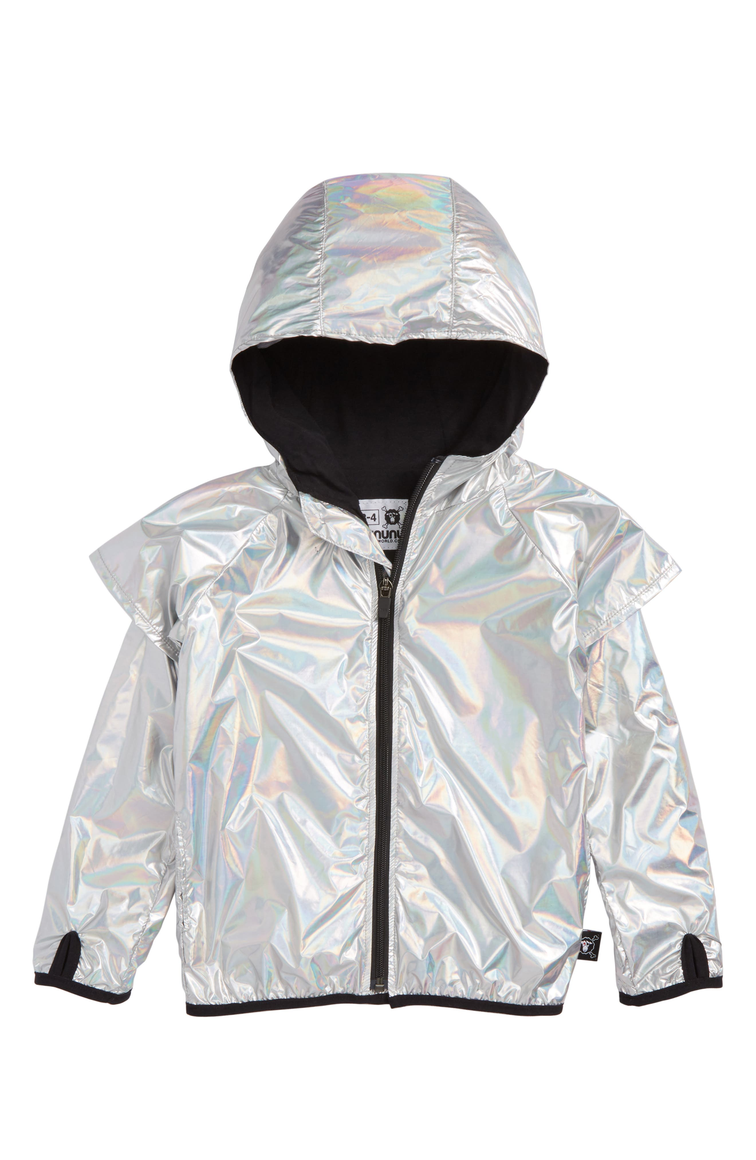 Hooded Nylon Jacket,                             Main thumbnail 1, color,                             Silver