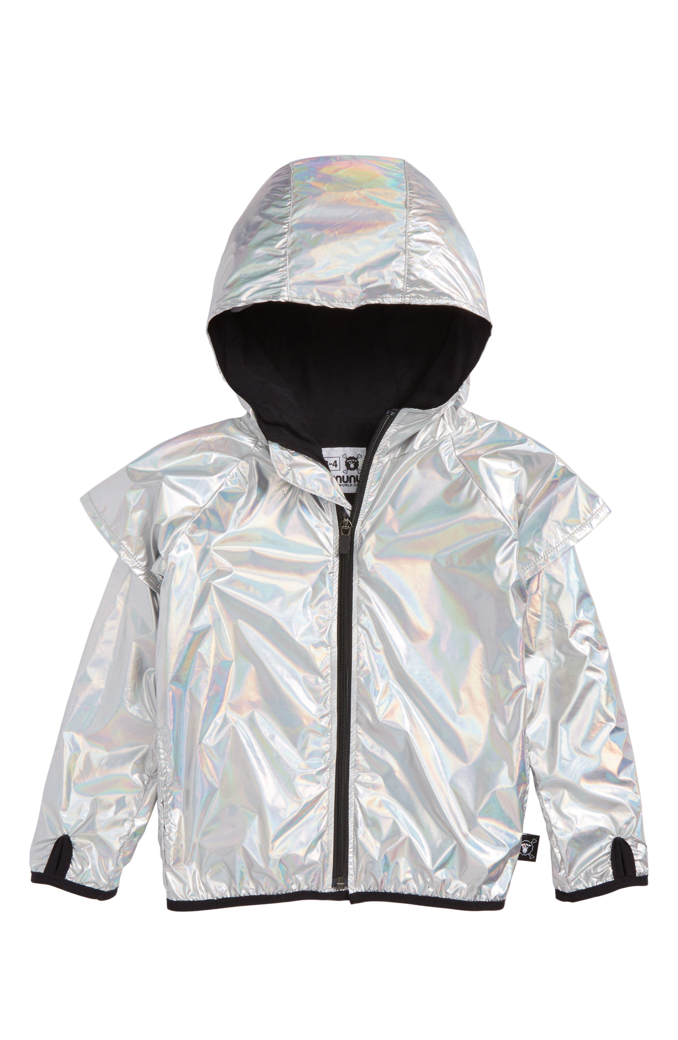 Hooded Nylon Jacket,                         Main,                         color, Silver