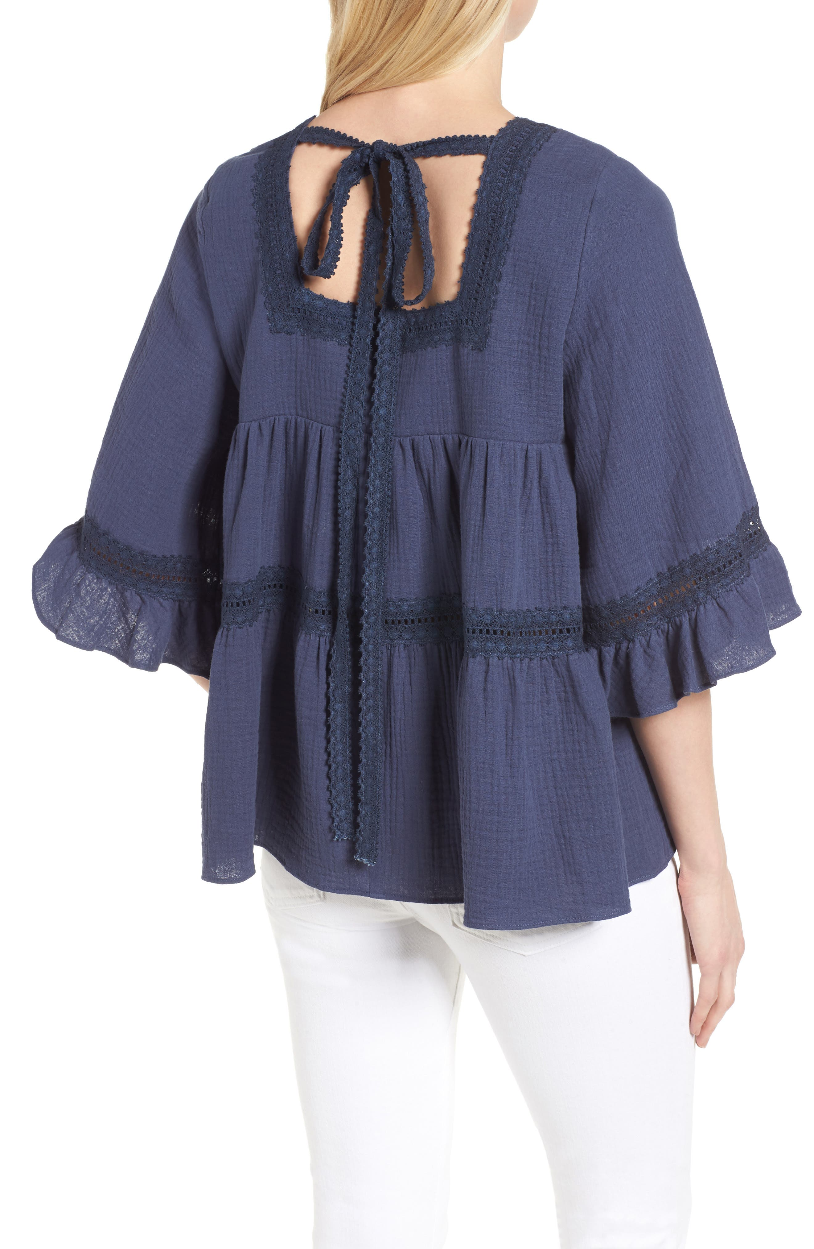 Lace Trim Blouse,                             Alternate thumbnail 2, color,                             Navy Indigo