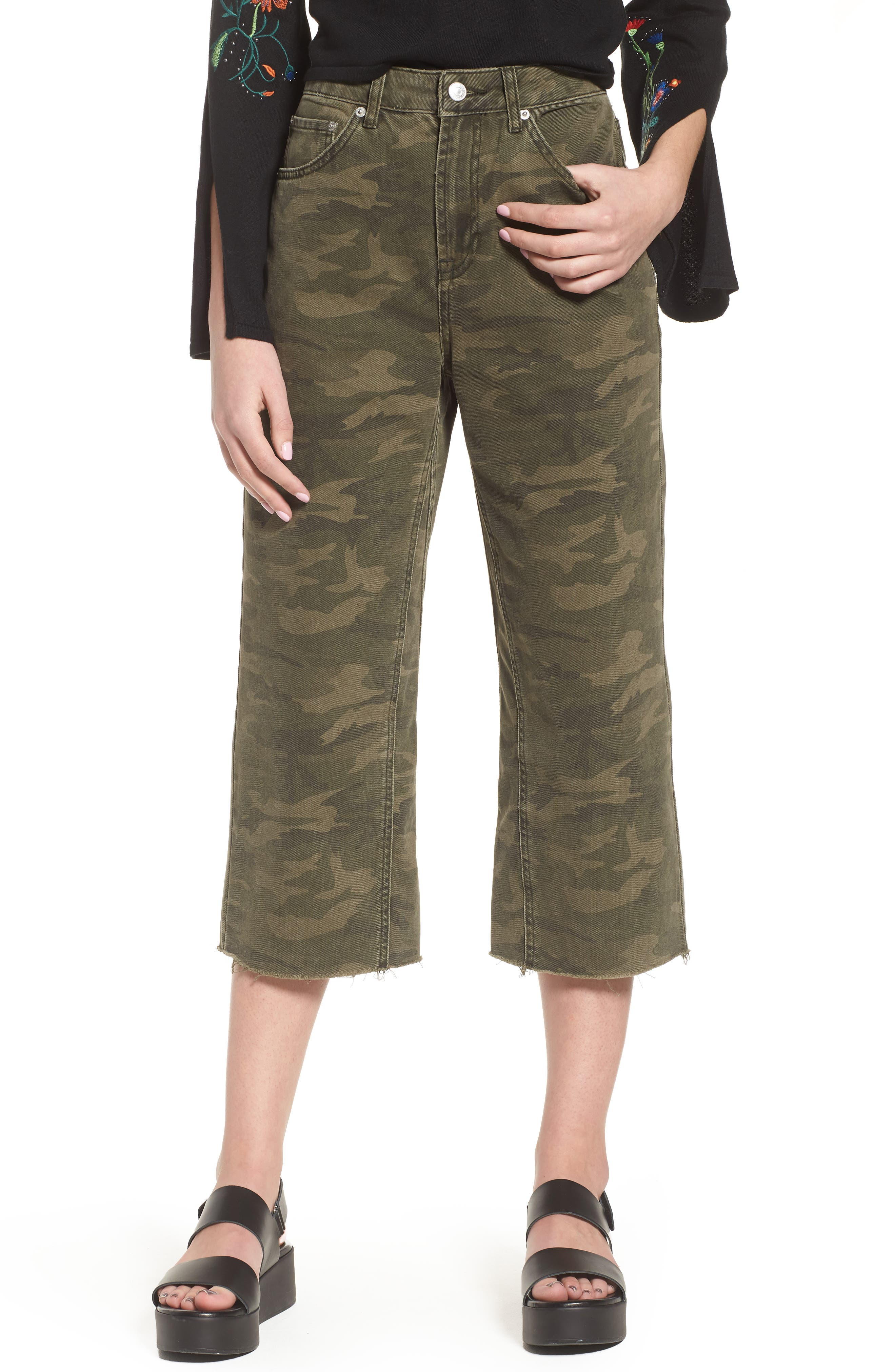Camo Wide Leg Trousers,                             Main thumbnail 1, color,                             Olive