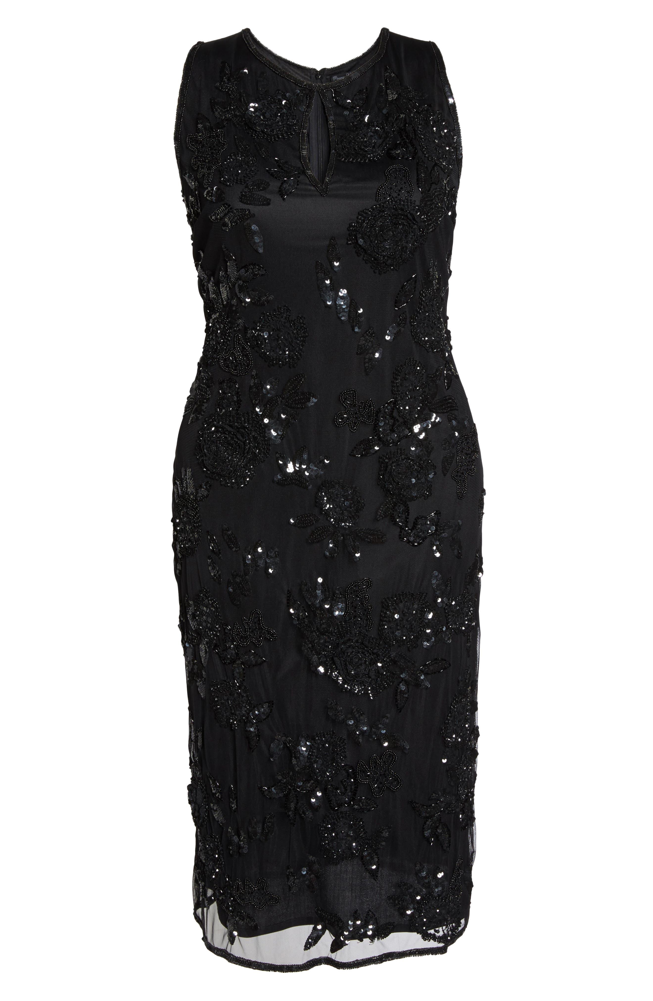 Embellished Keyhole Sheath Dress,                             Alternate thumbnail 6, color,                             Black