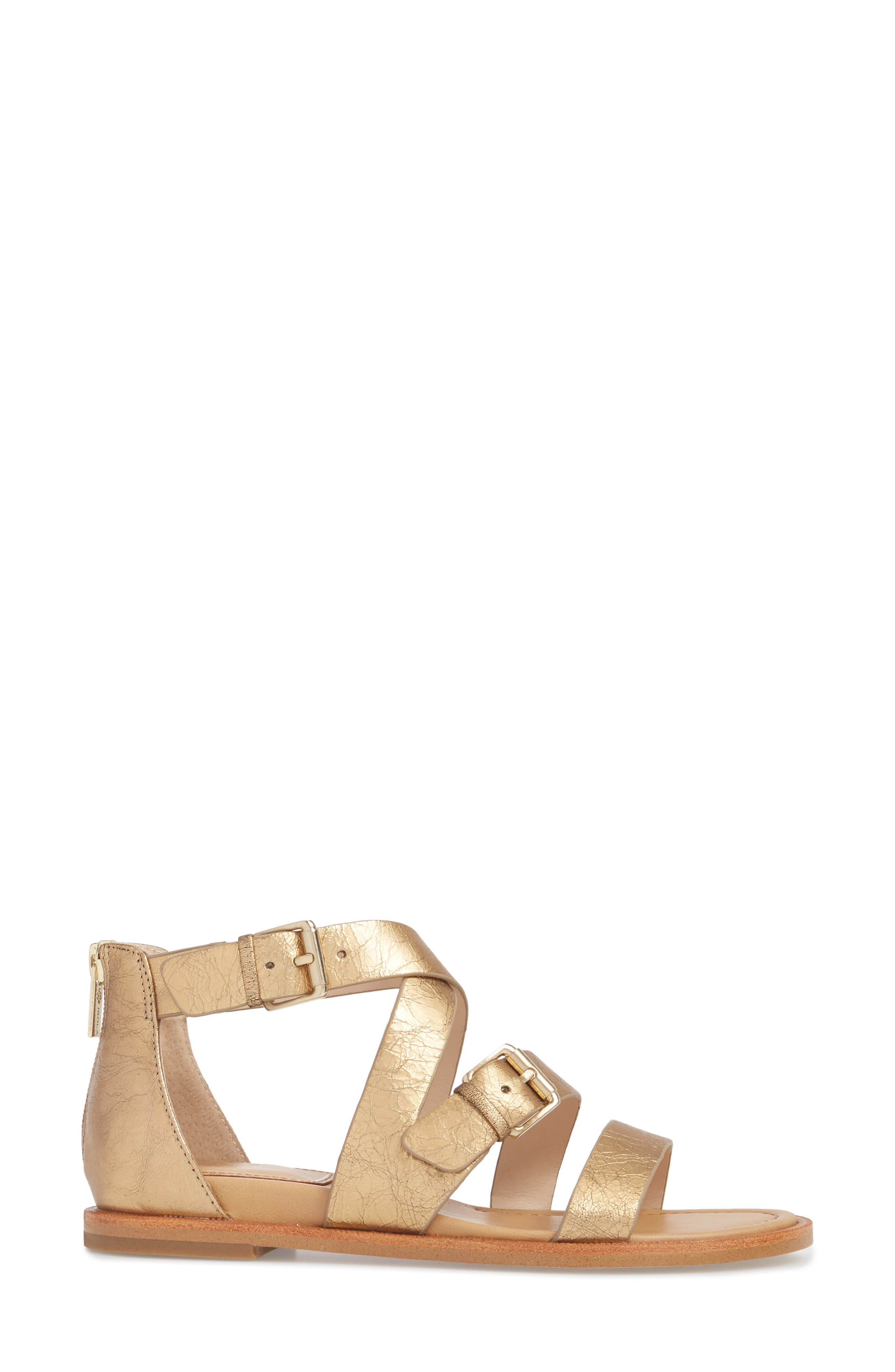 Isola Sharni Sandal,                             Alternate thumbnail 3, color,                             Old Gold Leather