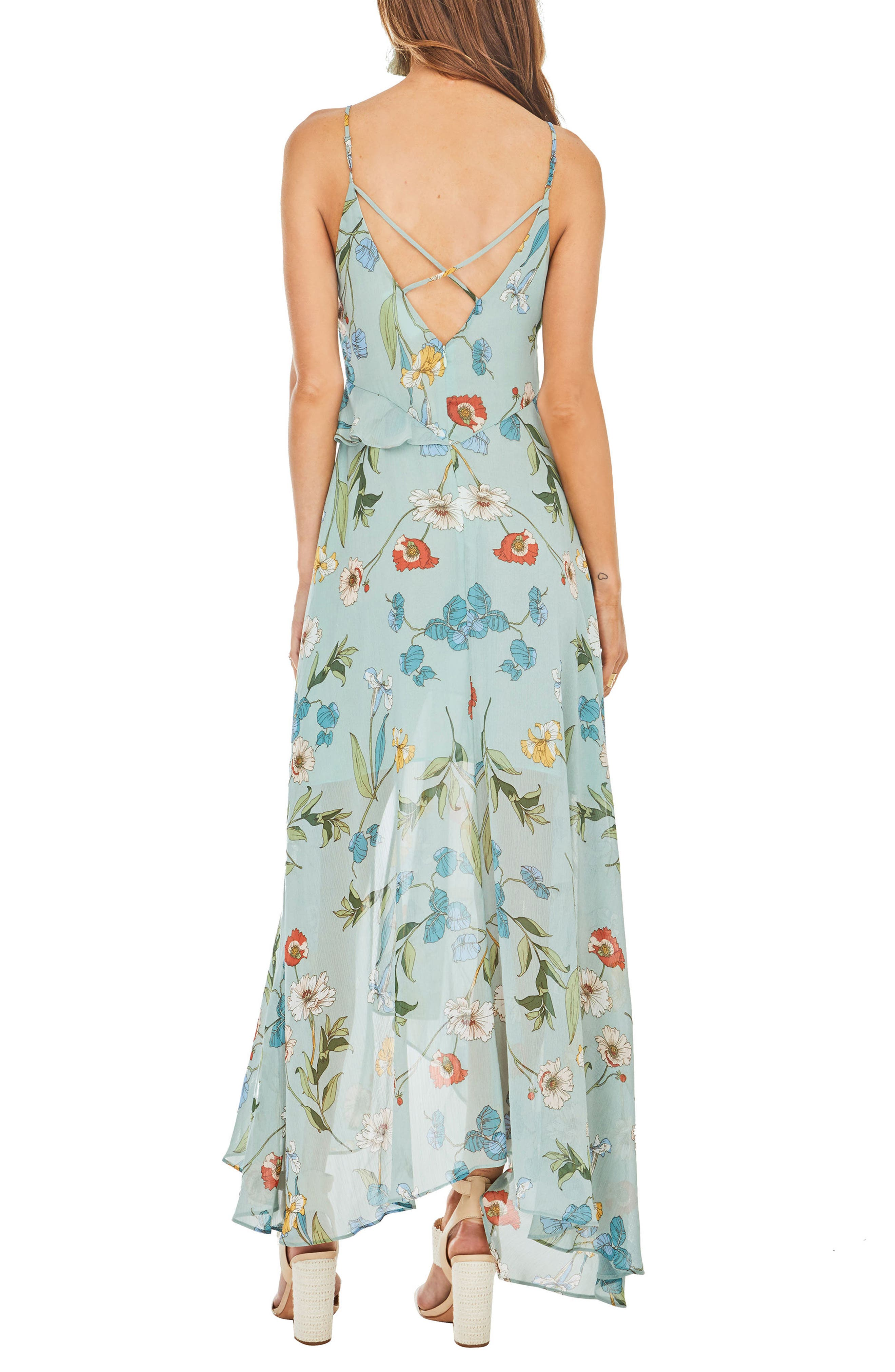 Sienna Maxi Dress,                             Alternate thumbnail 3, color,                             Sage Multi Floral