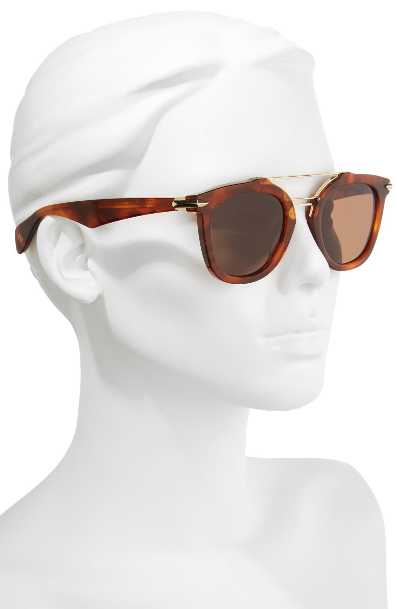 50mm Round Aviator Sunglasses,                             Alternate thumbnail 2, color,                             Havana Honey