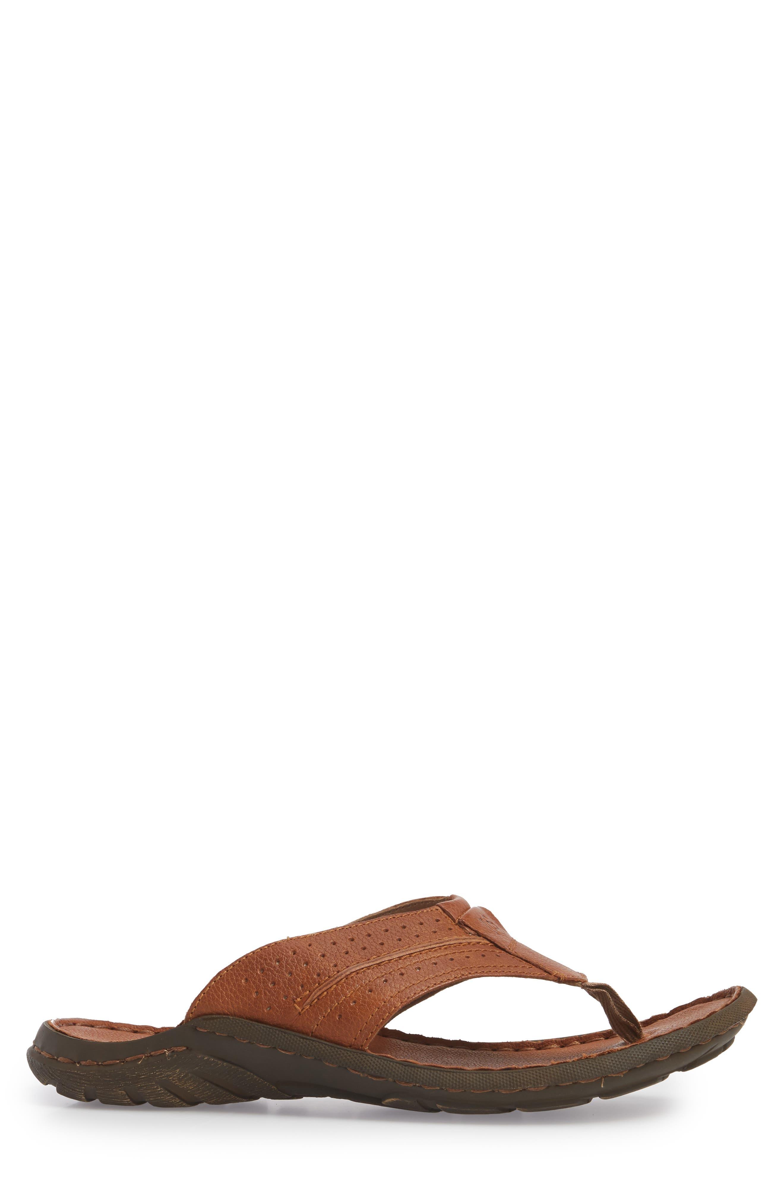 Logan Flip Flop,                             Alternate thumbnail 3, color,                             Brown Leather