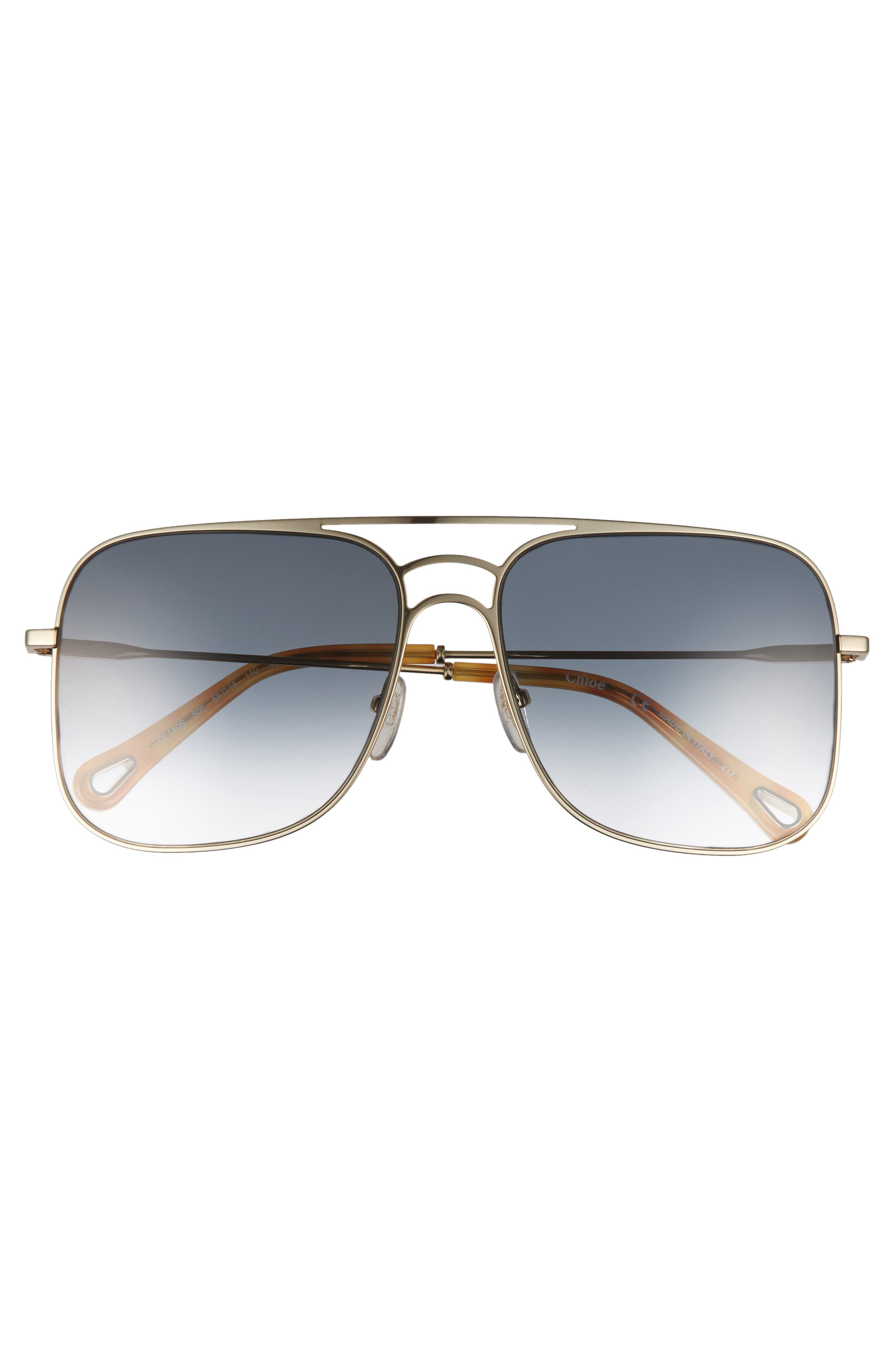 58mm Metal Navigator Sunglasses,                             Alternate thumbnail 3, color,                             Gold/ Petrol