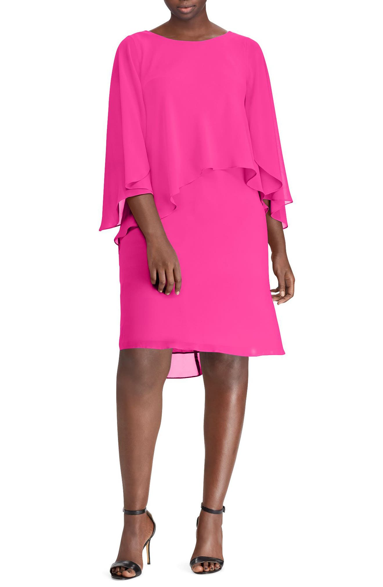 Layered Georgette Dress,                             Main thumbnail 1, color,                             Tropic Pink