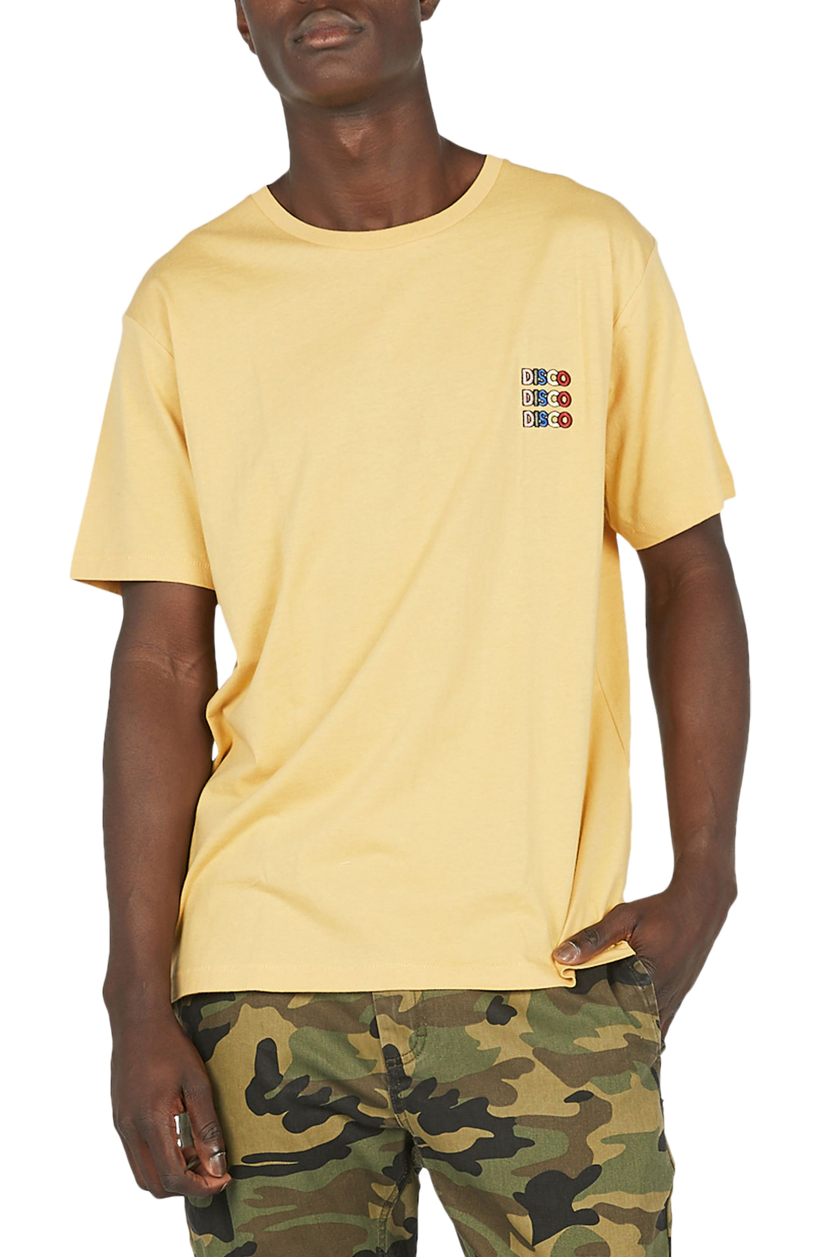 Disco Embroidered T-Shirt,                         Main,                         color, Mustard