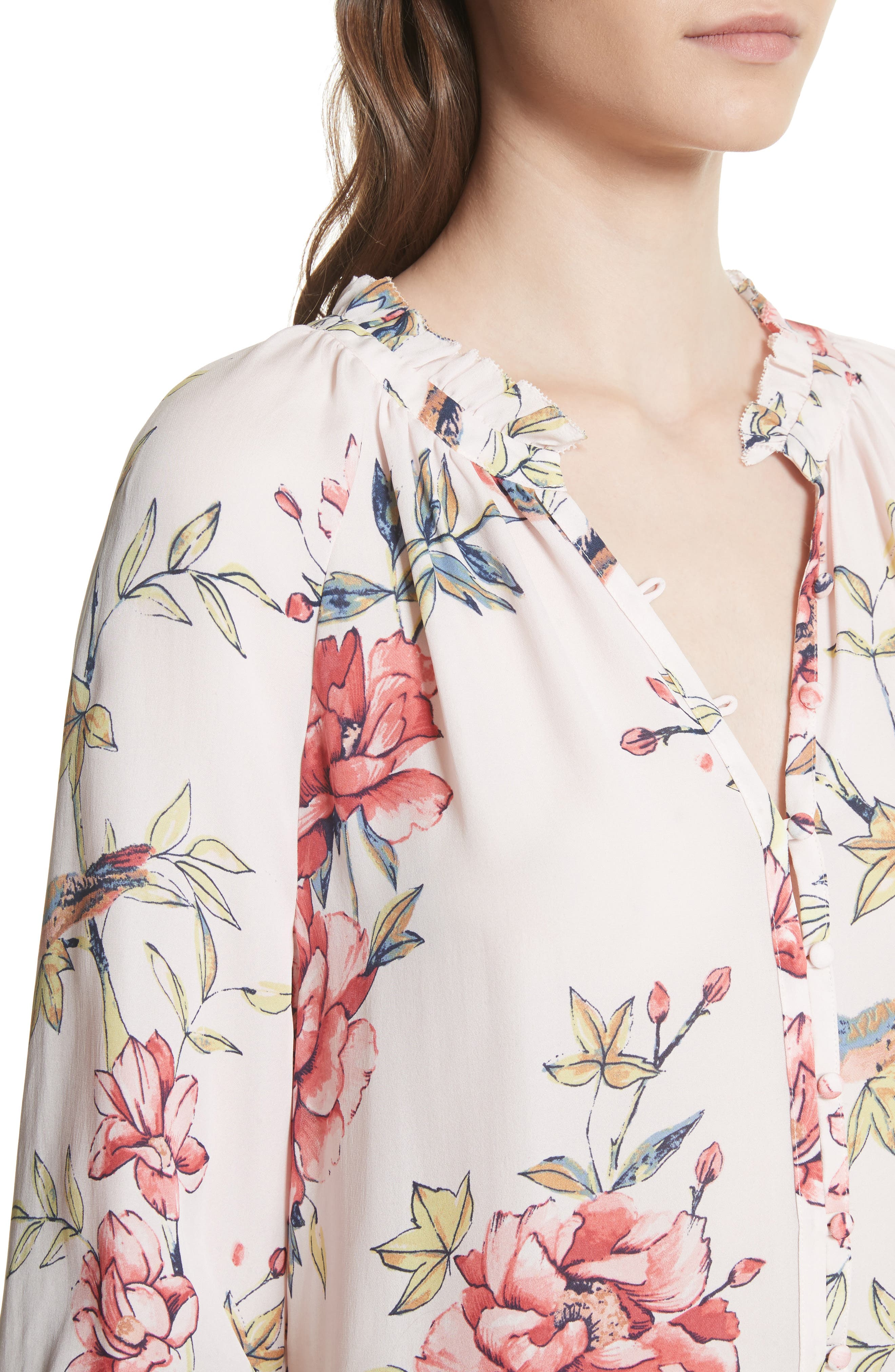 Corsen Floral Silk Blouse,                             Alternate thumbnail 4, color,                             Rosewater