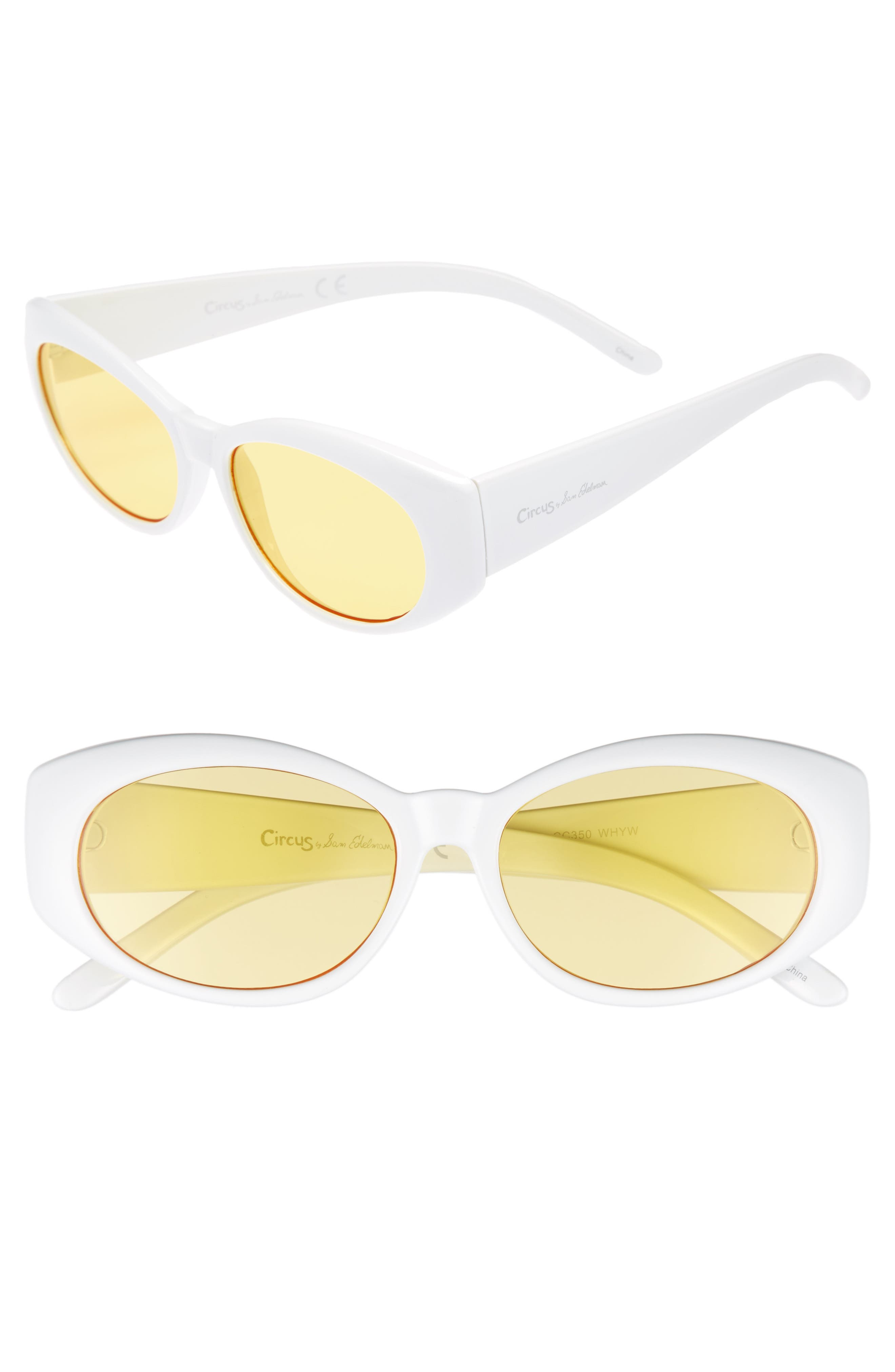 68mm Oval Sunglasses,                         Main,                         color, White/ Yellow Lens