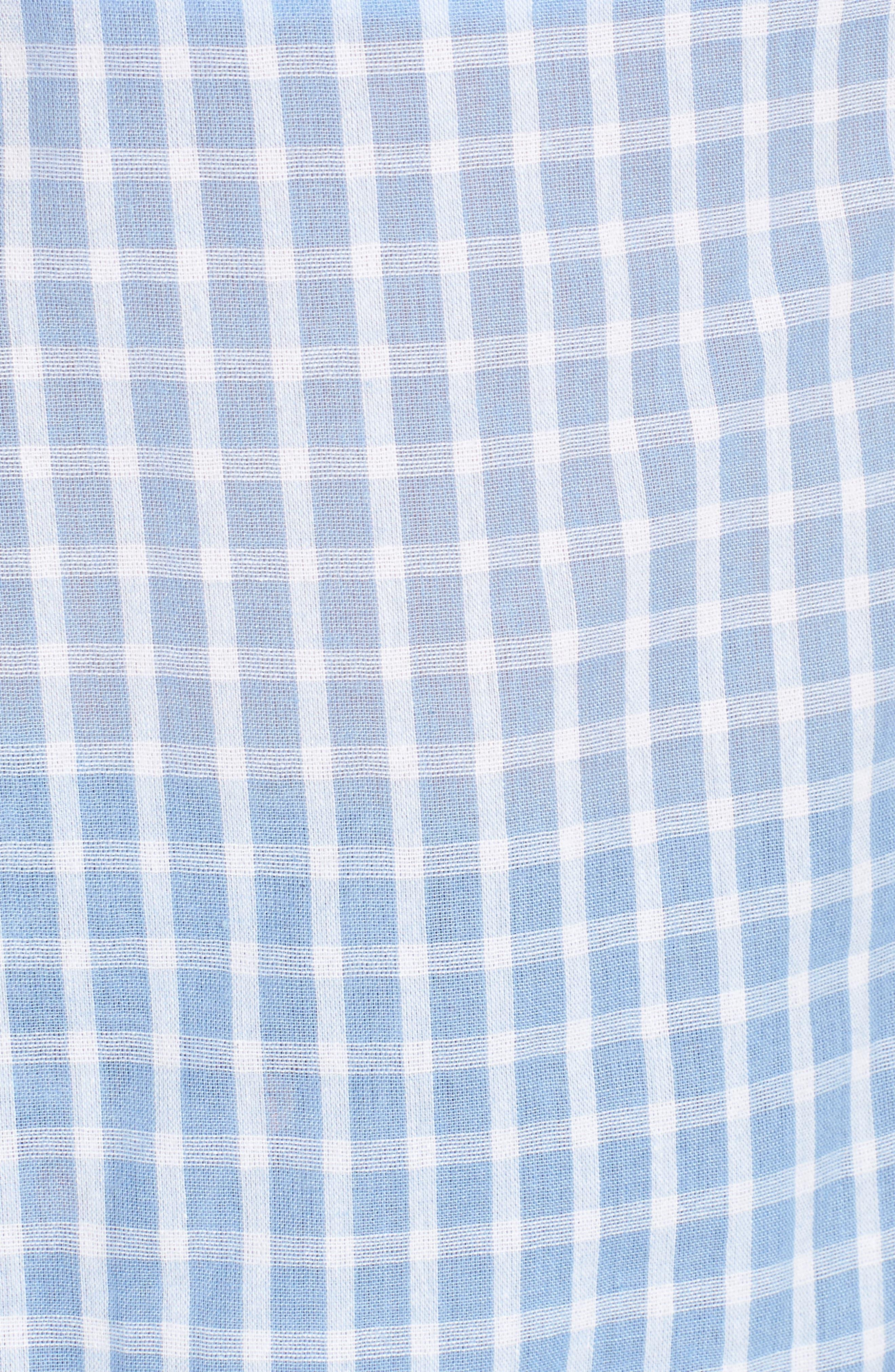 Knot Back Strapless Top,                             Alternate thumbnail 6, color,                             Light Blue/ White