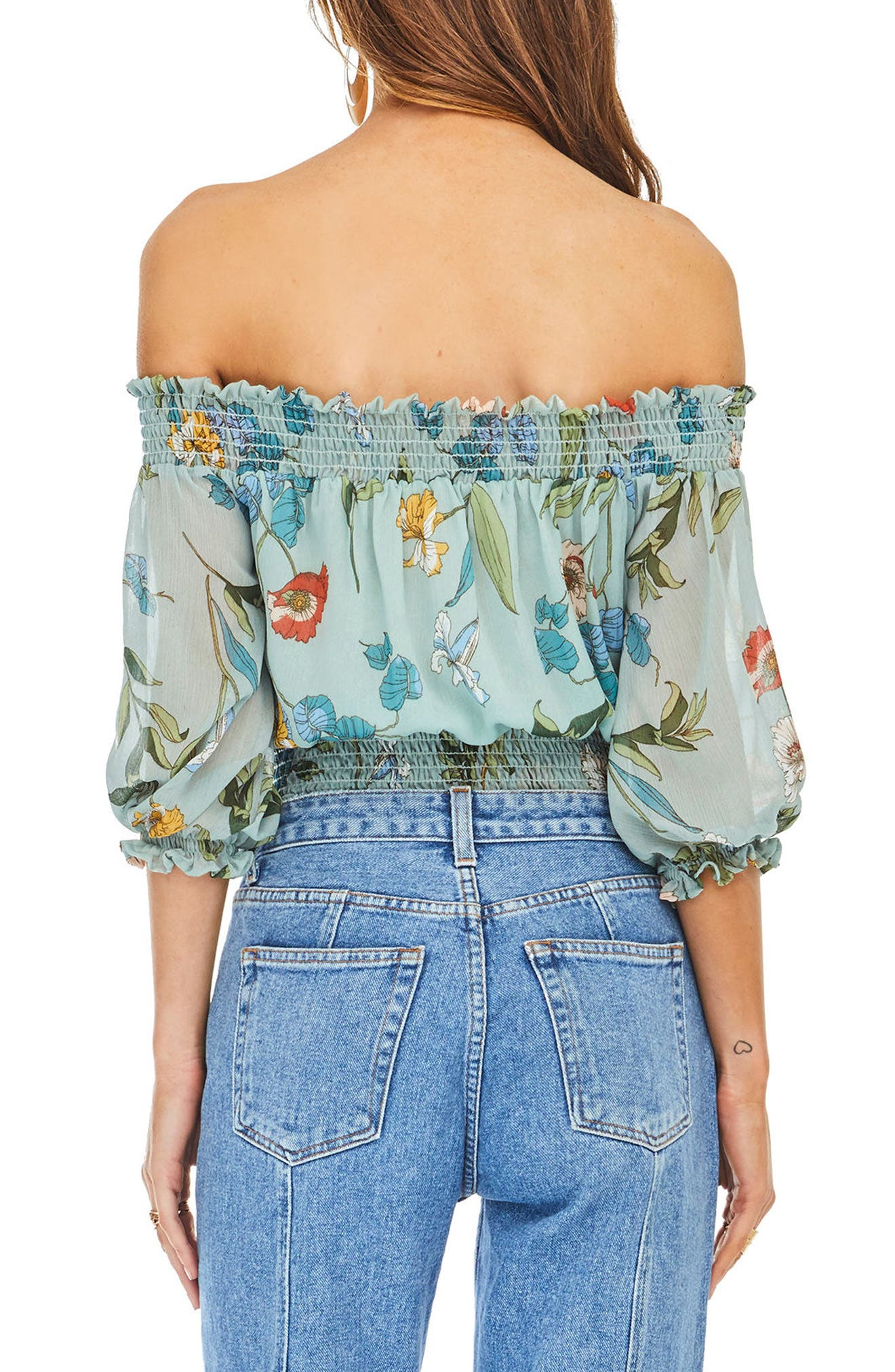 Lucy Off the Shoulder Bodysuit,                             Alternate thumbnail 3, color,                             Sage Multi Floral