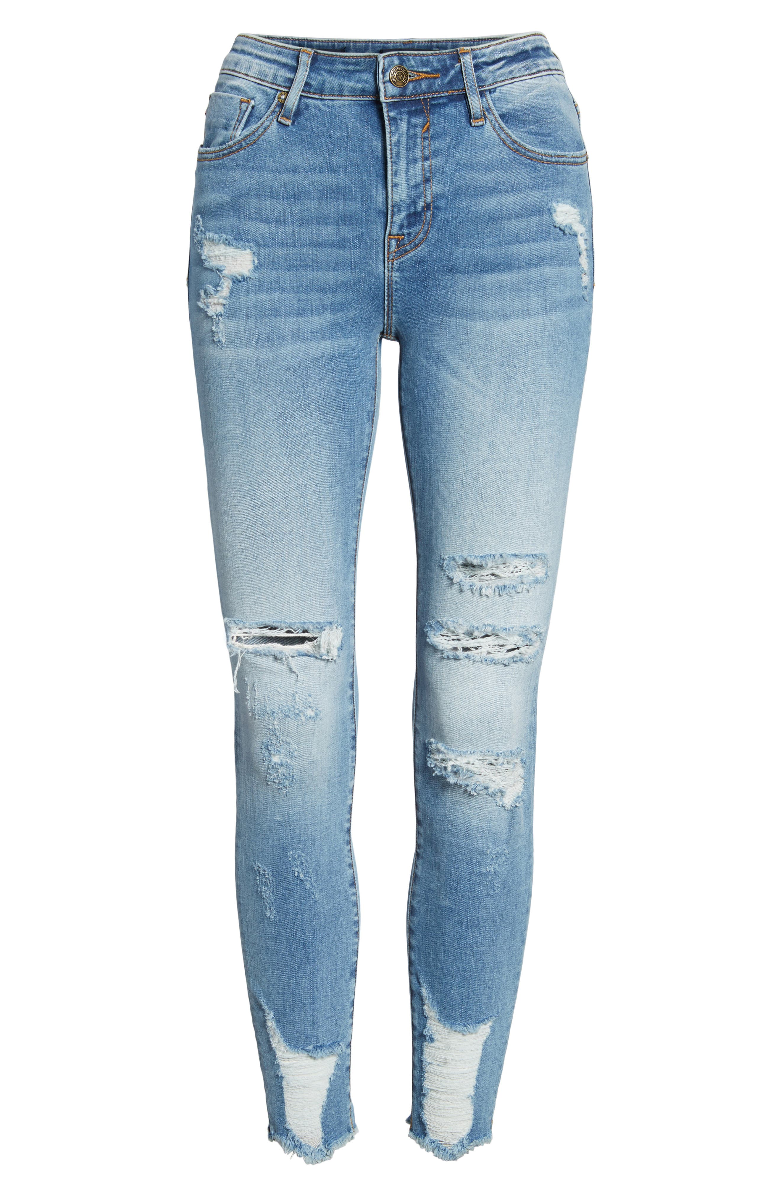 Marley Distressed Skinny Jeans,                             Alternate thumbnail 6, color,                             Medium Wash