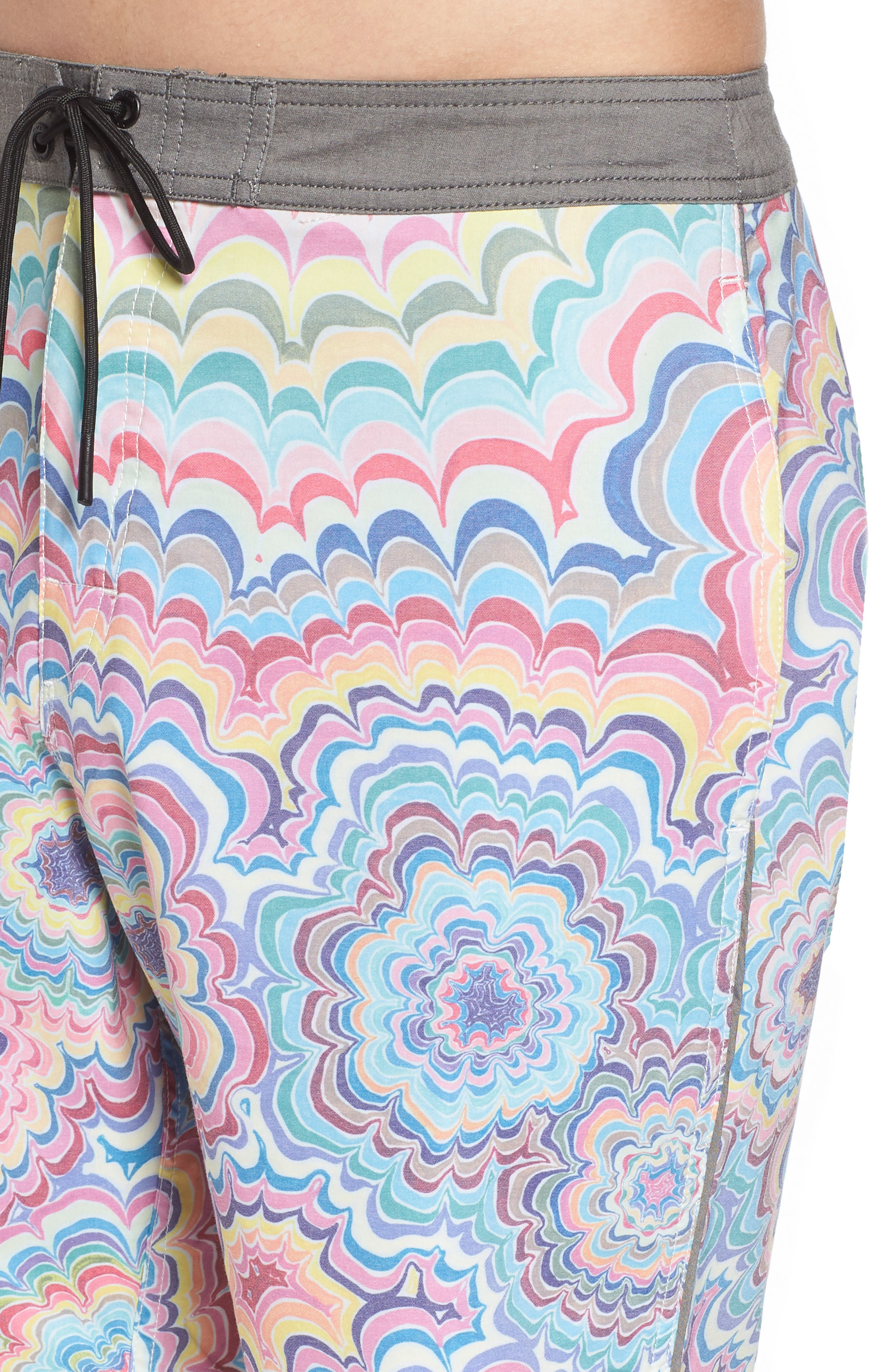 Kelsey Psych Swim Trunks,                             Alternate thumbnail 4, color,                             Coral