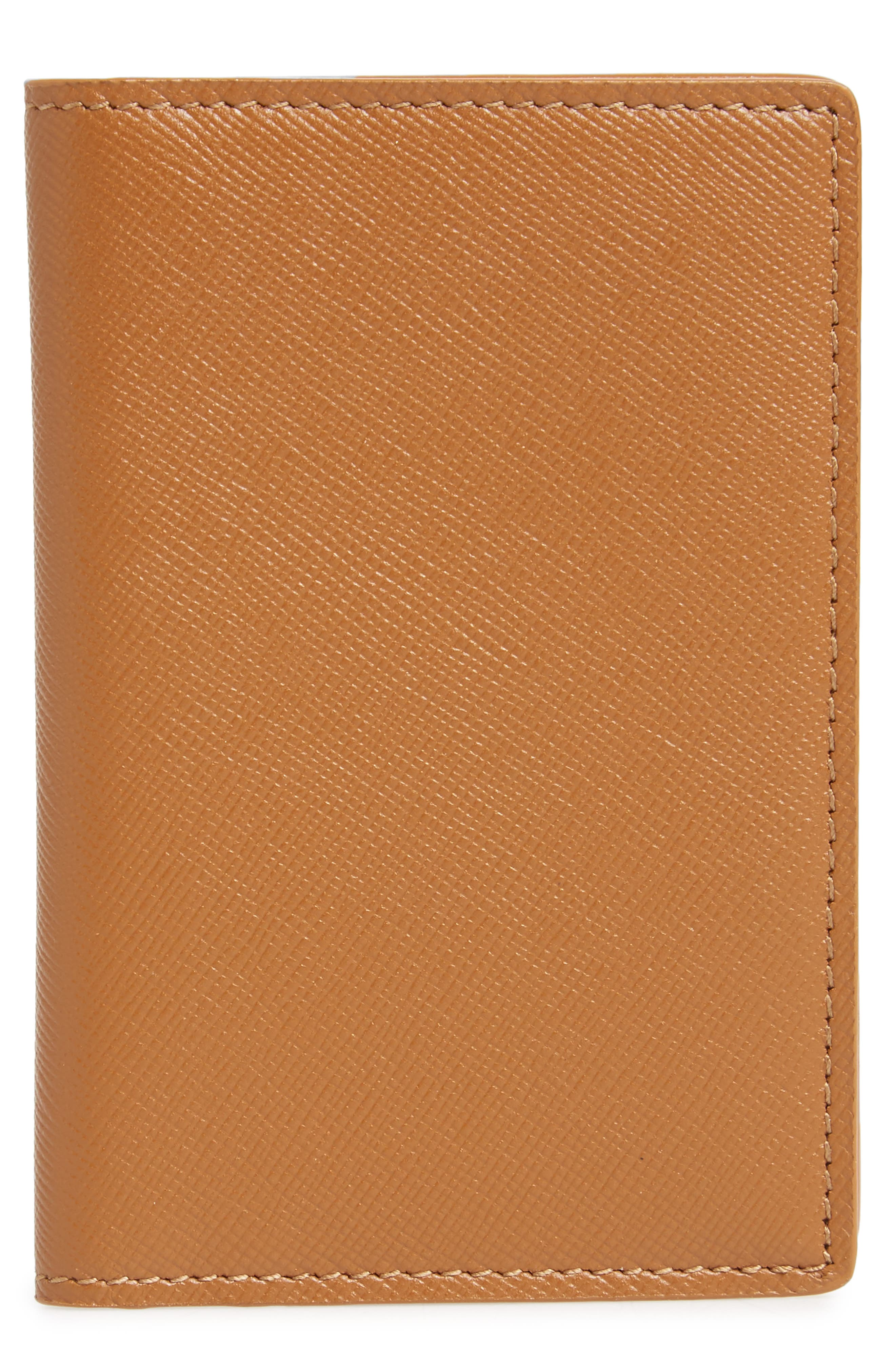 Saffiano Leather Folio Wallet,                         Main,                         color, Brown